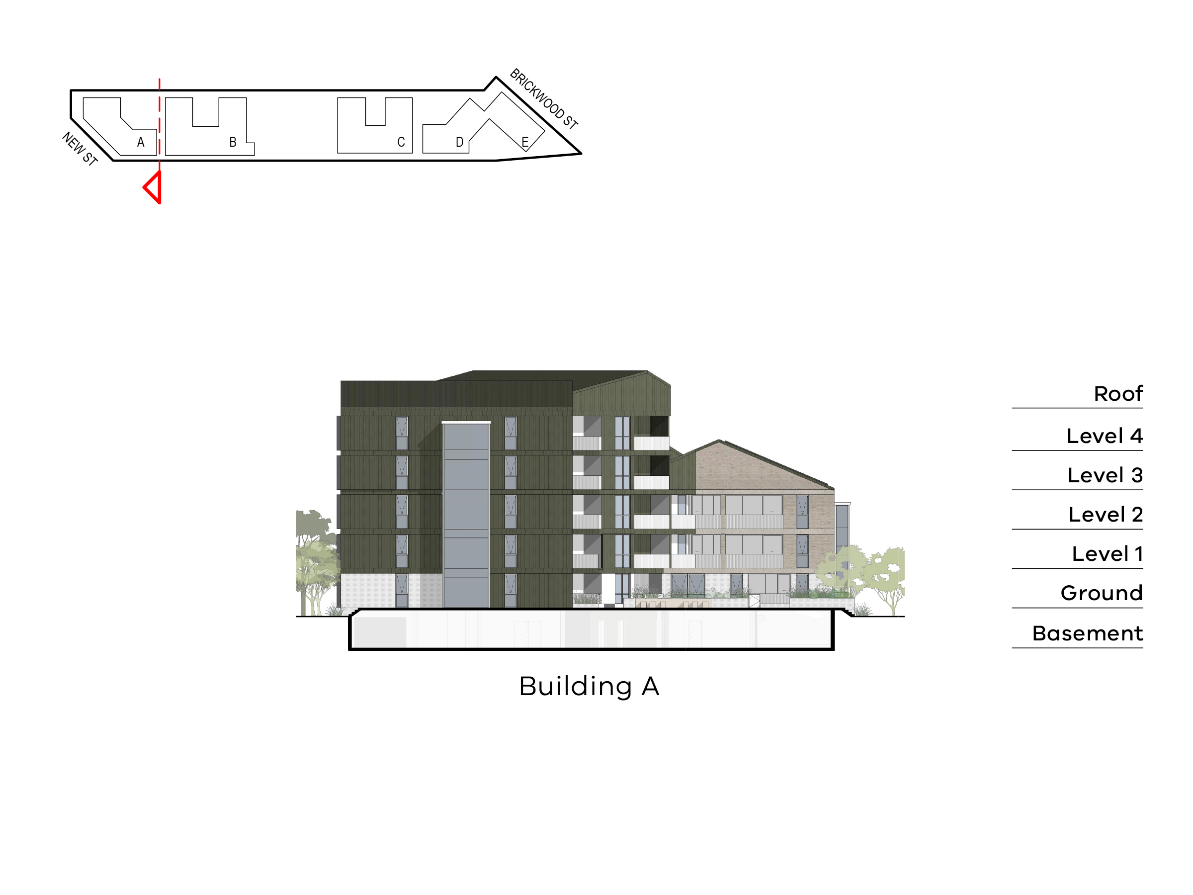 Diagram showing the height of building A as seen from building B towards New Street. Building A includes a basement, ground floor, level 1-4 and a roof on the Elster Creek side and basement, ground floor, level 1-2 and a roof on the Ebden Street side