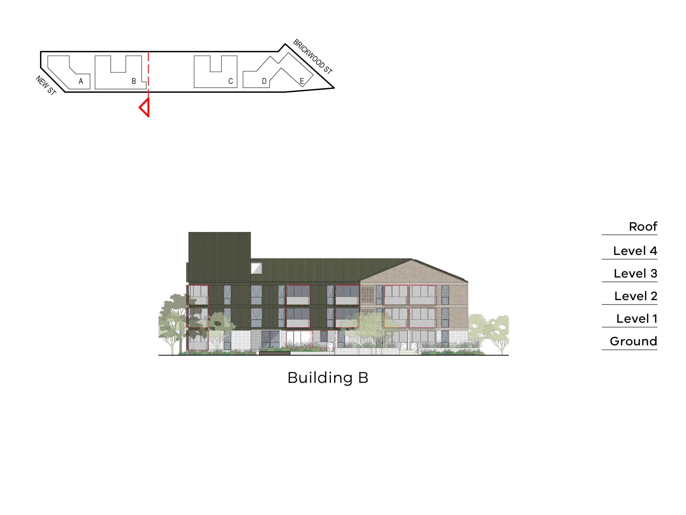 Diagram showing the height of building B as seen from building C towards New Street. Building B has ground level, floor 1-2 and a roof on Ebden Street side and basement, ground level, level 1-3 and roof on the Elster Creek side.