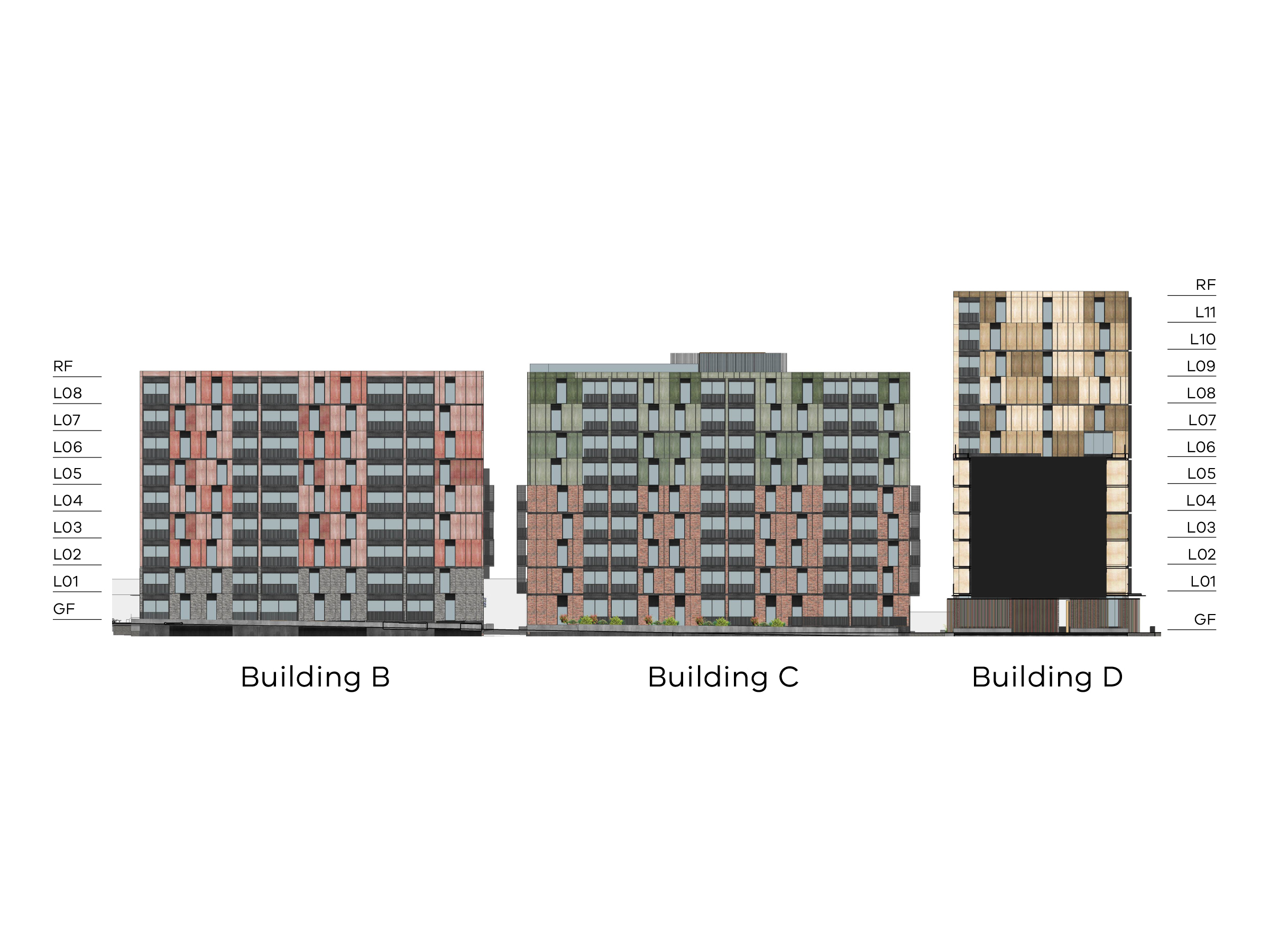 Diagram showing the heights of buildings B, C and D as seen from the north-south link on site looking towards Bangs Street. Buildings B and C have a ground floor, level 1-8 and a flat roof. Building D has a ground floor, level 1-11 and a flat roof.