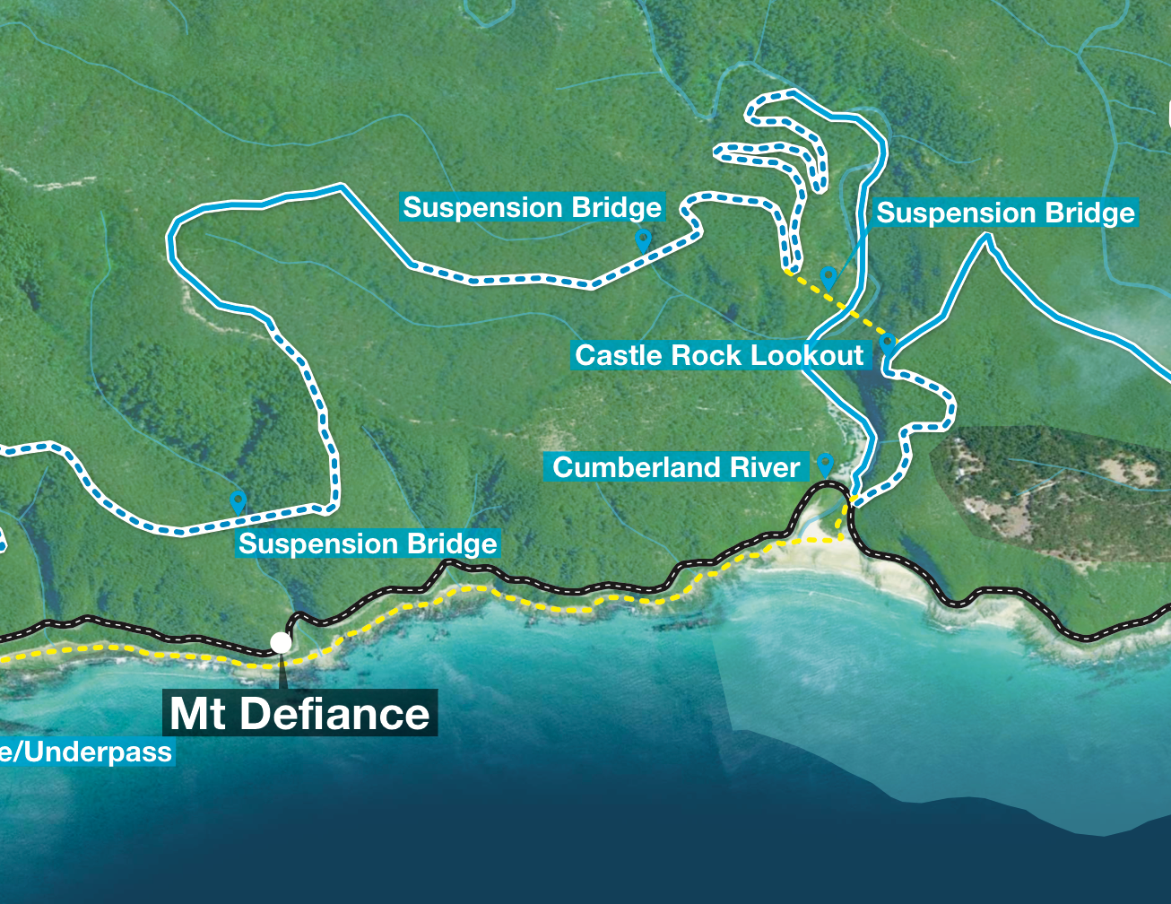 Draft concept map which shows three potential locations for suspension bridges between Lorne and Wye River in the Great Ocean Road region