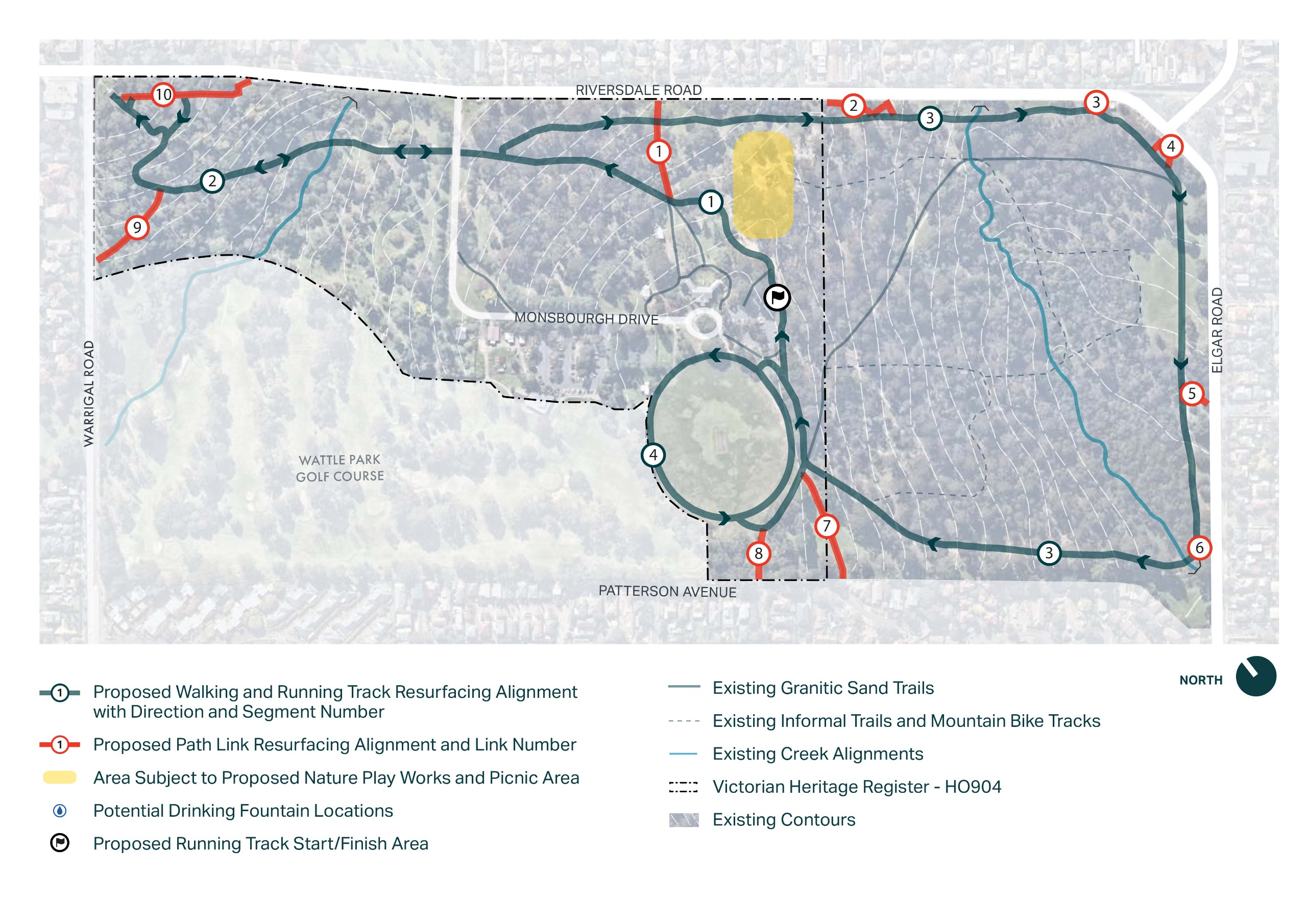 Map showing Wattle Park with proposed track along Riversdale Road and Elgar Road, track circles oval and goes through the north west of the park towards Warrigal Road. Path links are noted to Warrigal Road Riversdale Road and Patterson Avenue.