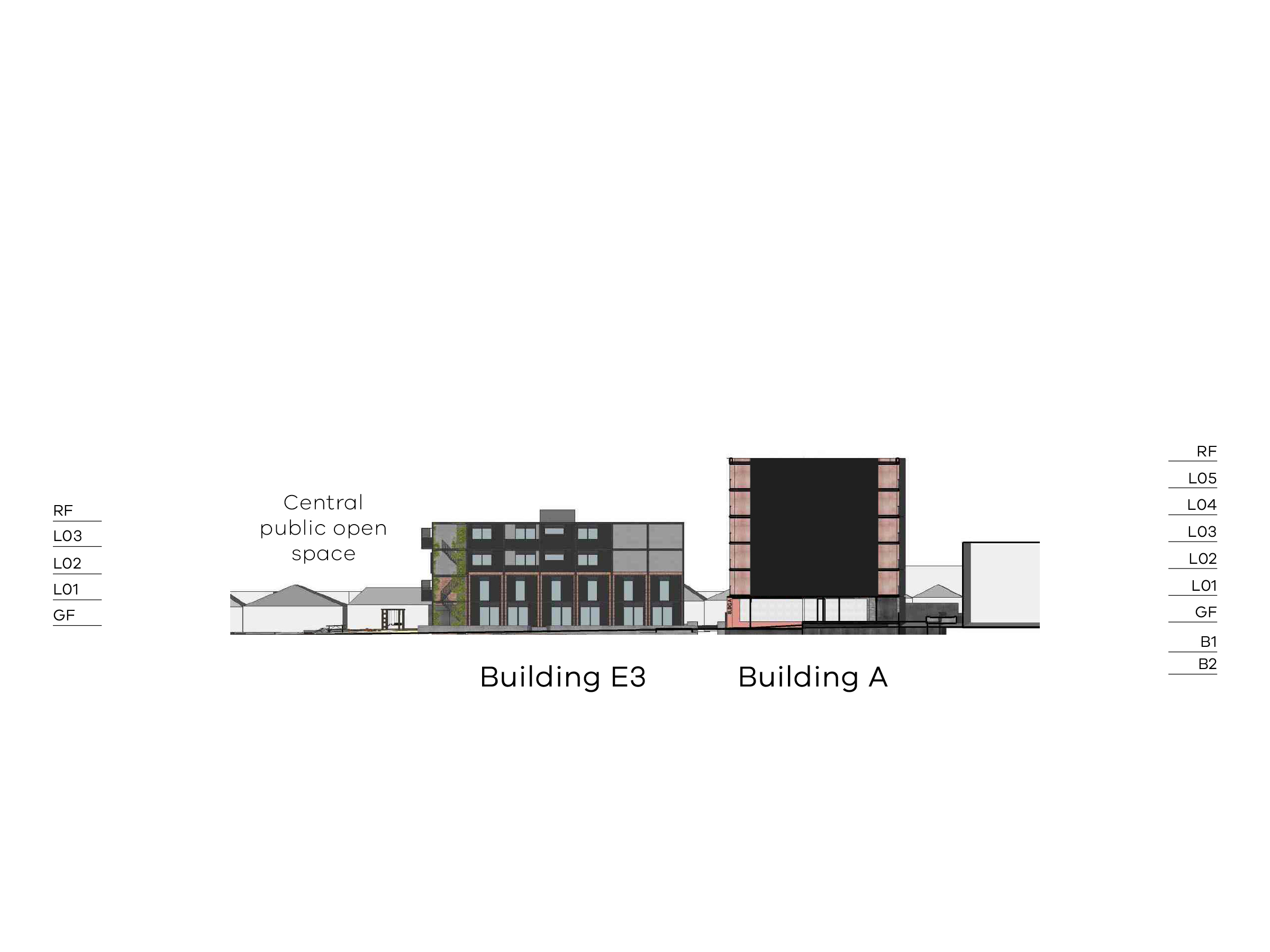 Diagram showing the heights of buildings A and E3 as seen from the walkway on site looking towards Bendigo Street. Building A has a ground floor, level 1-5 and a flat roof. Building E3 has a ground floor, level 1-3 and a flat roof.