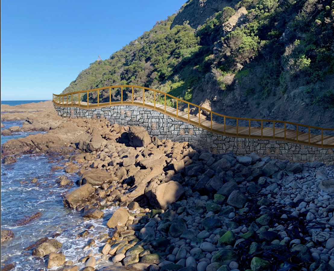 Image of a boardwalk, which is the type of technical structure required for this section of trail to be feasible if it travels along the coast