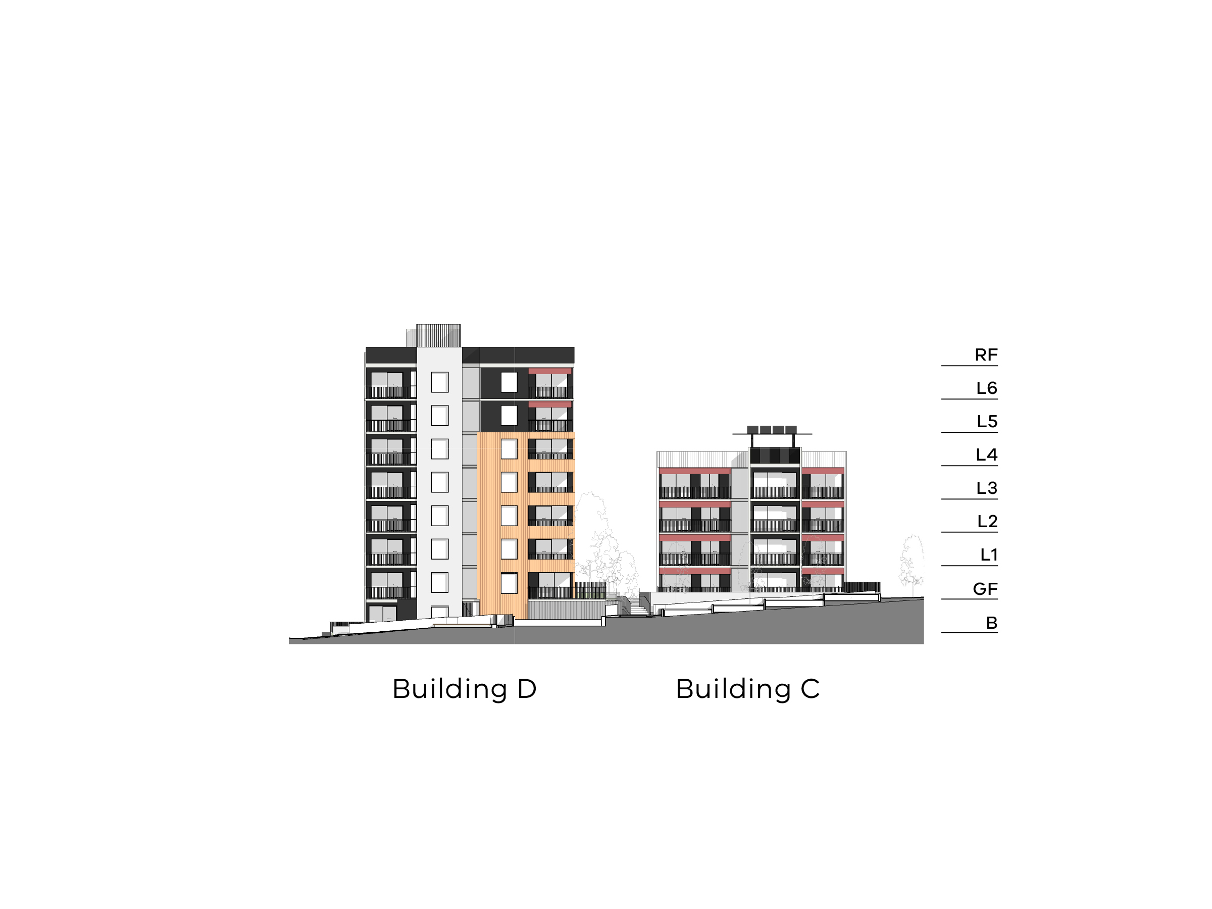 Diagram showing the heights of buildings C and D as seen from Hill Street. Building C has a basement, ground floor, level 1-4 and a flat roof. Building D has a basement, ground floor, level 1-6 and a flat roof.
