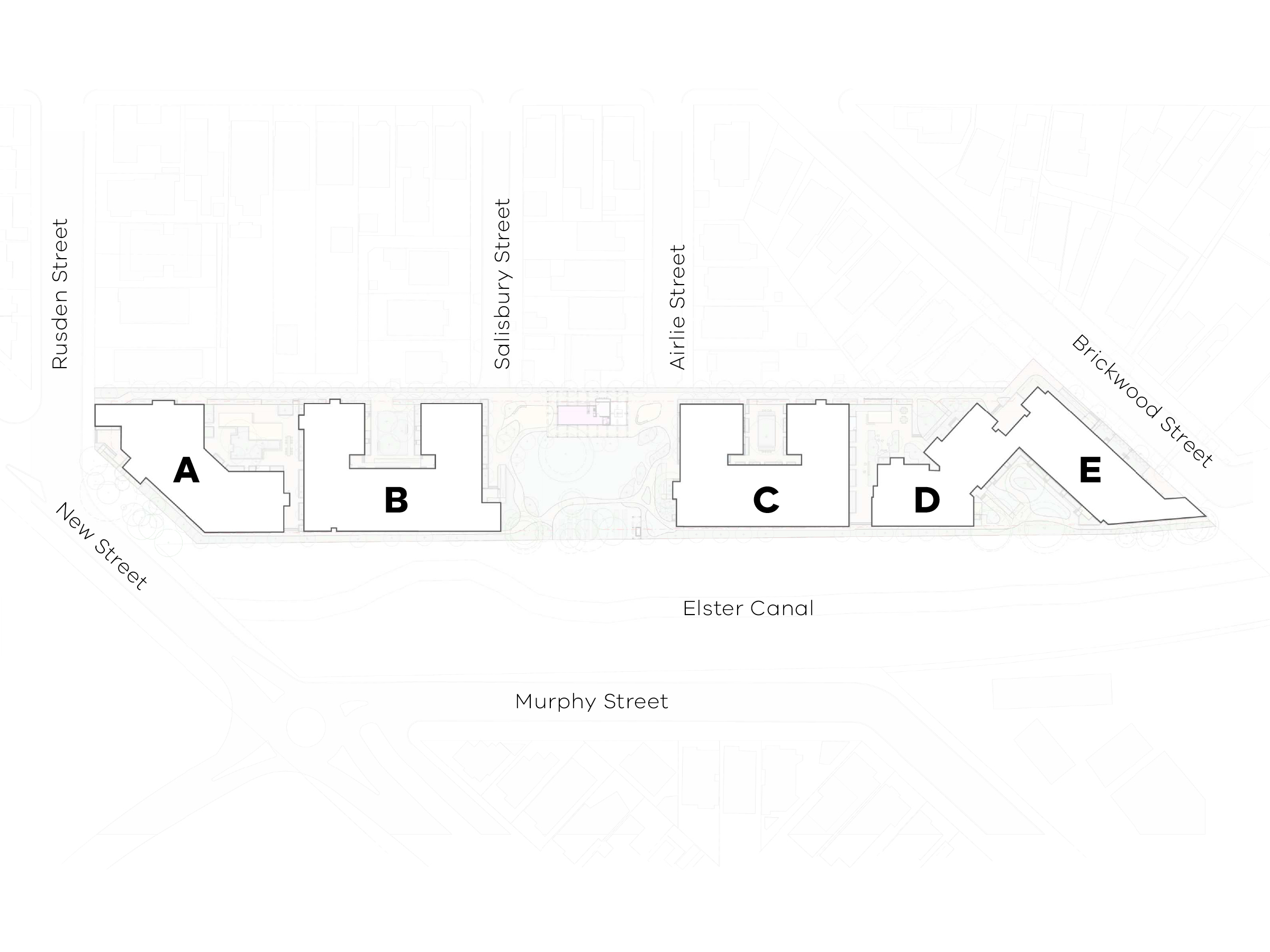 Map showing the access point to the buildings in the new development