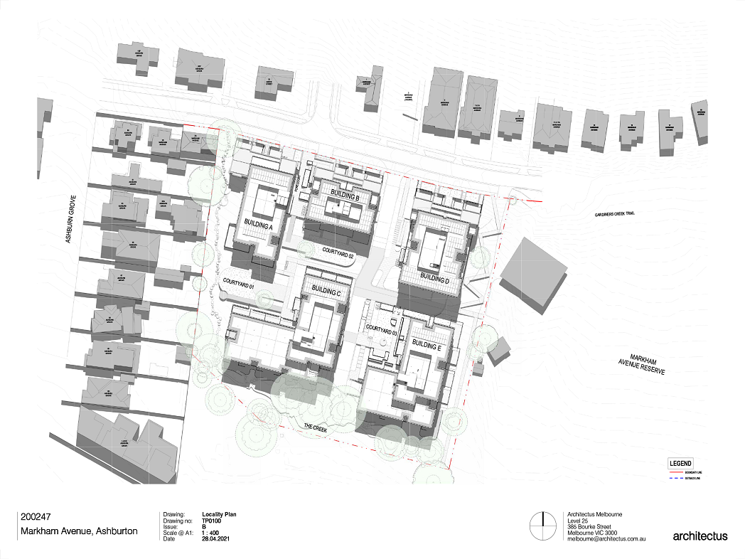 This plan is showing the locality plan for the Markham Avenue Project.  There are 5 buildings located on the site.  The site is divided by a central accessway separating buildings A, B and C to the West and Buildings D and E to the East.  There are 3 buildings located along Markham Avenue to the North of the site, which are buildings A, B and D.  There are 2 larger buildings located to the South of the site, To the west is building C and to the East is Building E.   The buildings have landscaped courtyards in between them.  Courtyard 1 and 2 are located to the western side of the central accessway and Courtyard 3 is located to the East of the Central accessway.  The creek is located to the southern end of the site.  There are lush existing trees that are retained along the southern and western boundaries of the site.