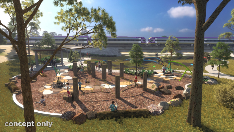 3D render of the play equipment at Apex Park