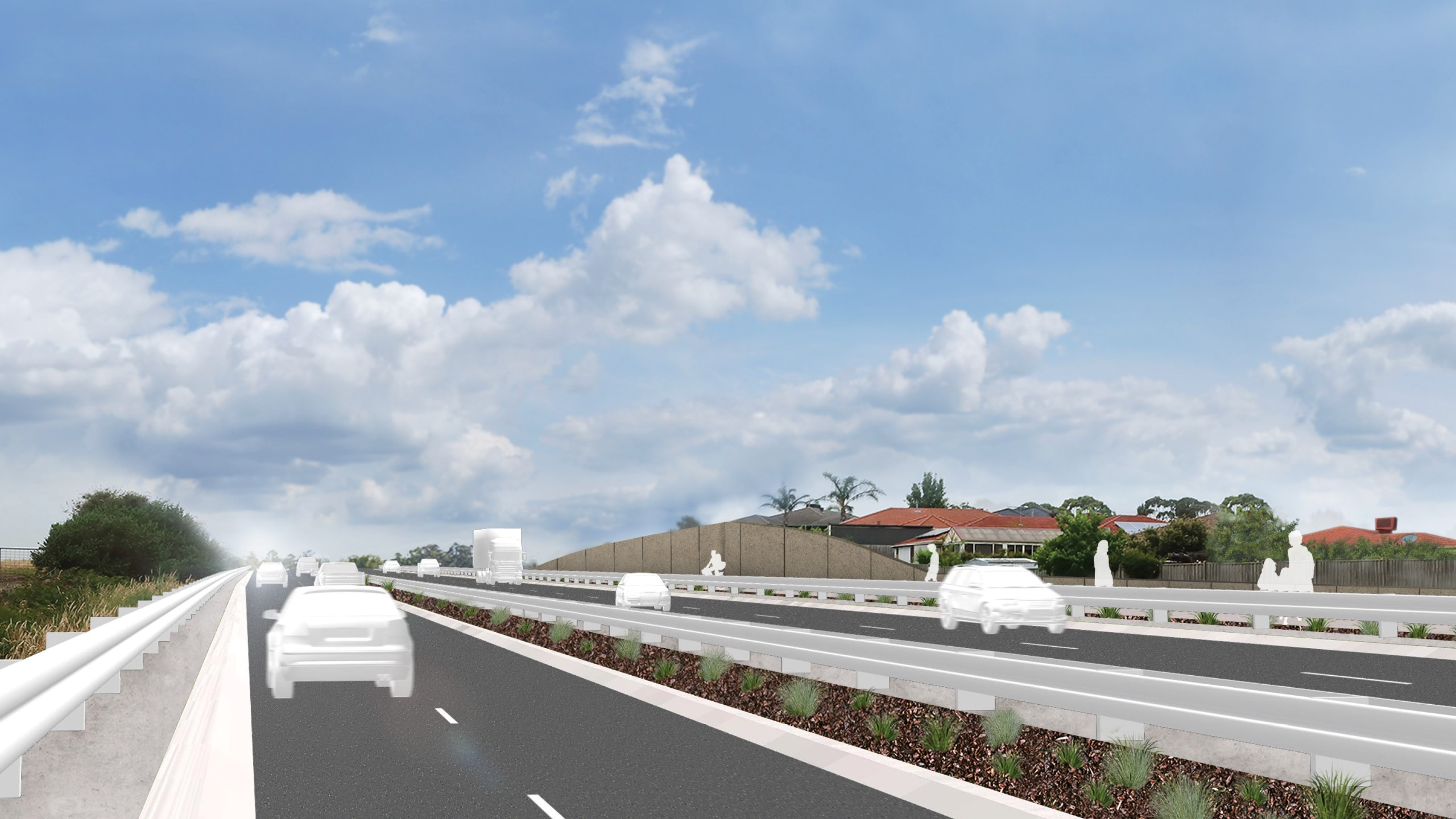 Artist's impression of cars driving on Hall Road 1 year after project completion