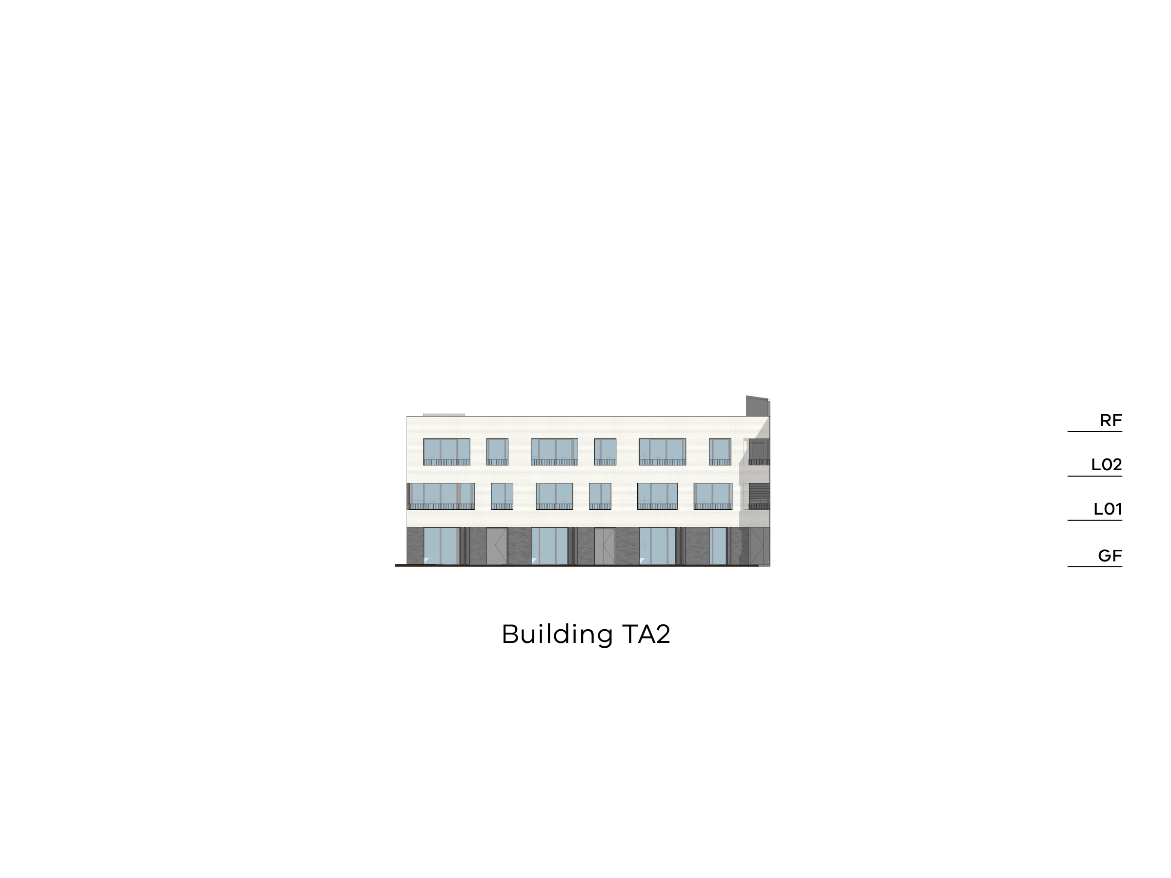 Diagram showing the height of the southern part of building TA2 as seen from St Pius X Primary School looking towards Tarakan Street. Building TA2 has a ground floor, level 1-2 and a flat roof.