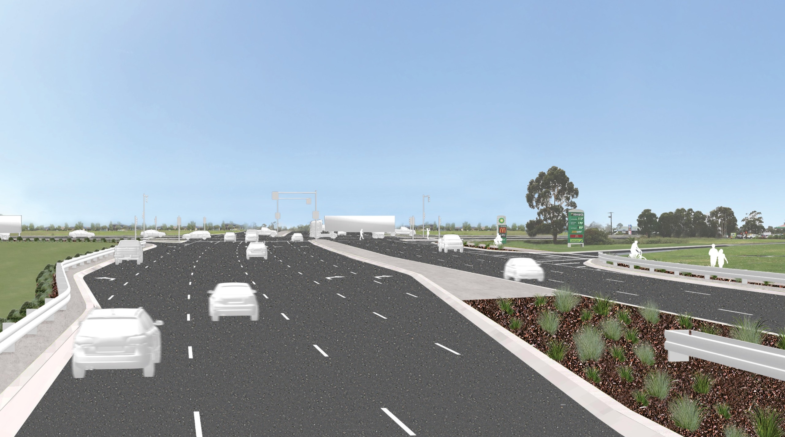 Artist's impression of cars driving through the Western Port Highway intersection 1 year after project completion