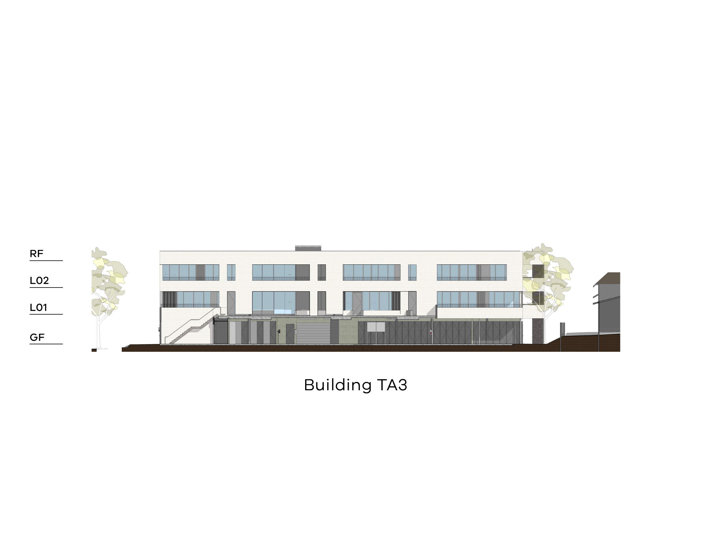Diagram showing the height of building TA3 as seen through the podium looking north. Building TA3 has a ground level, level 1-2 and a flat roof.
