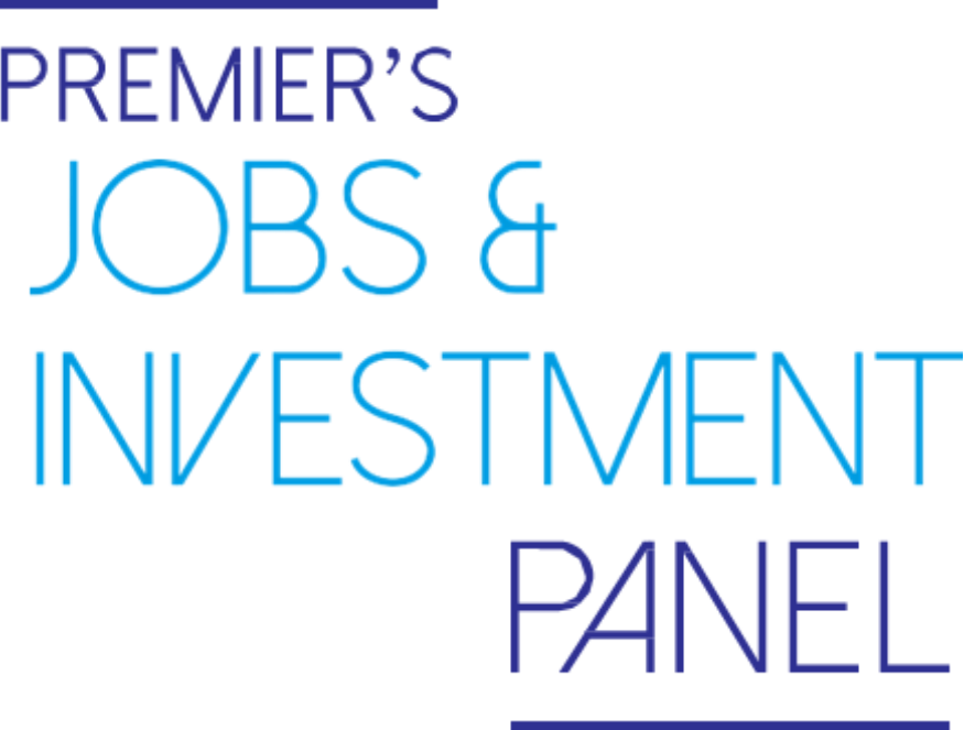 This image is the logo of the Premier's Jobs and Investment Panel. It is a text only logo.