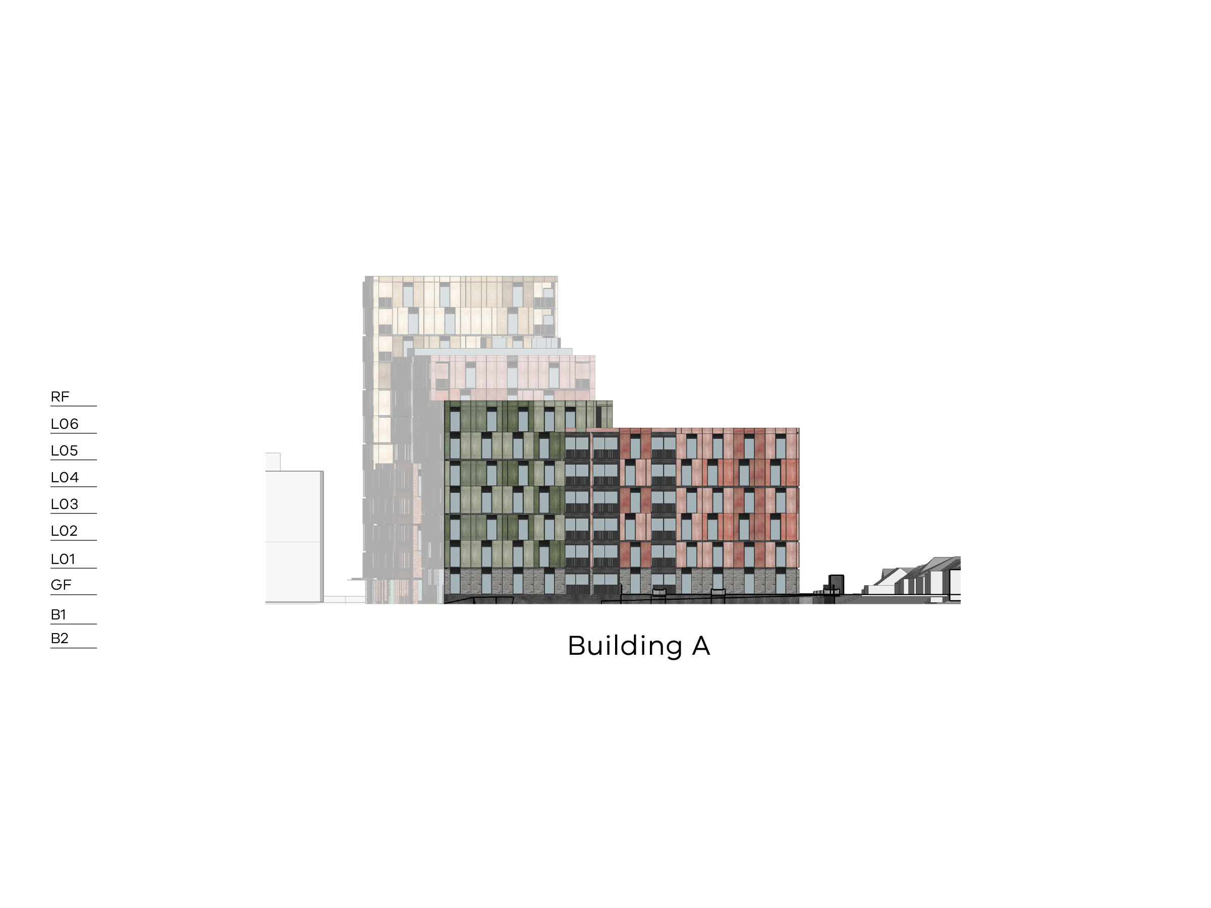 Diagram showing the height of building A as seen from High Street. Building A has 2 basement levels, a ground floor. level 1-6 and a flat roof. You can see buildings B and D in the background.