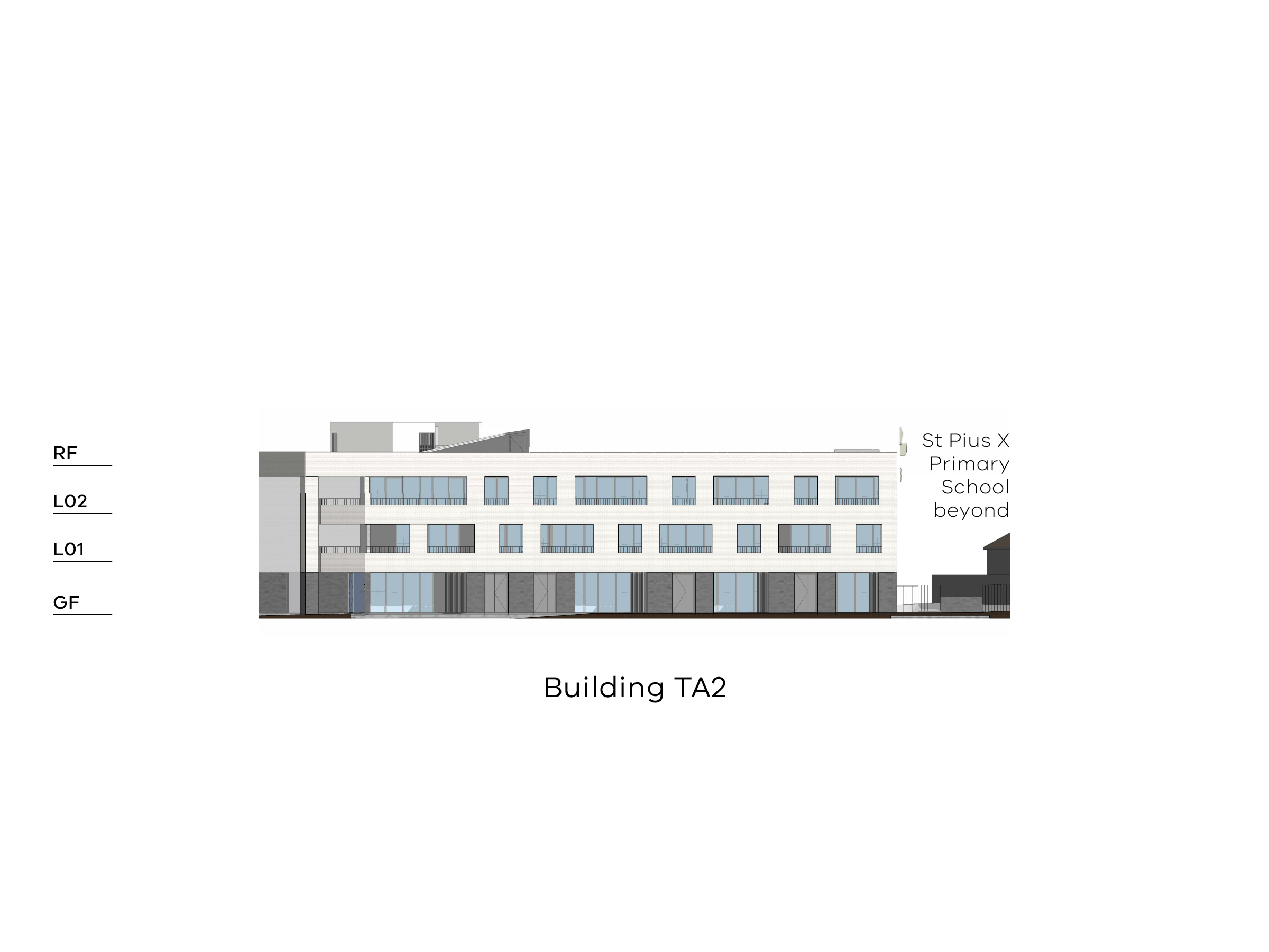 Diagram showing the height of building TA2 as seen from the on-site playground looking towards Altona Street. Building TA2 has a ground floor, level 1-2 and a flat roof.