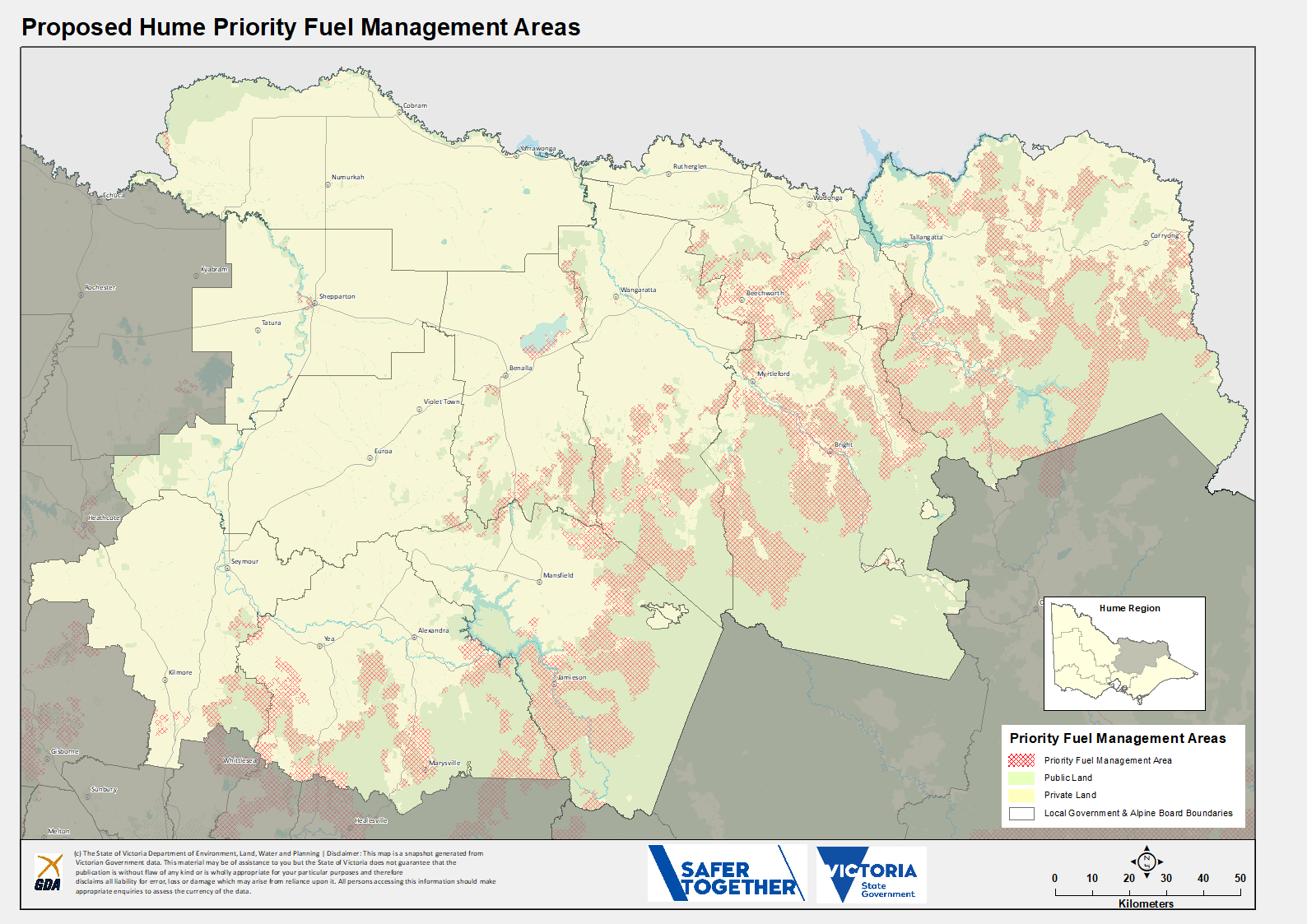 A map of the proposed Priority Fuel Management Areas in the Hume Region