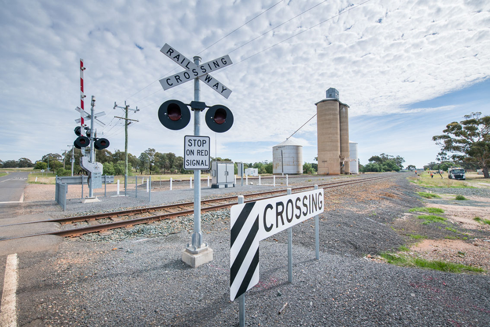 Photo of Raywood Station's possible location near level crossing.
