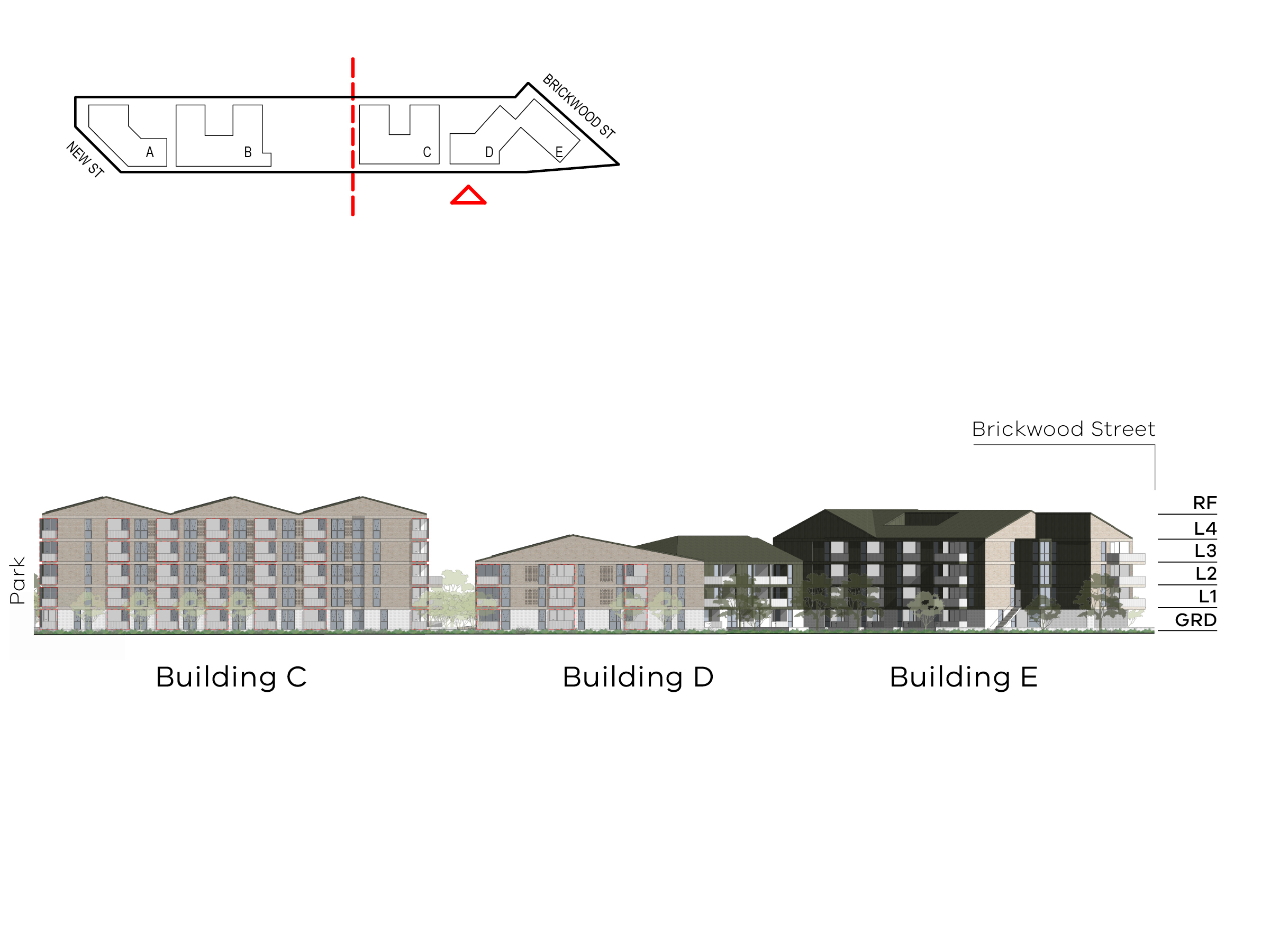 Diagram showing the heights of buildings C, D and E as seen from Elster Creek. Building C includes ground level, level 1 - 4 and a roof, building D includes ground level, level 1-2 and a roof, building E includes ground level, level 1-3 and a roof.