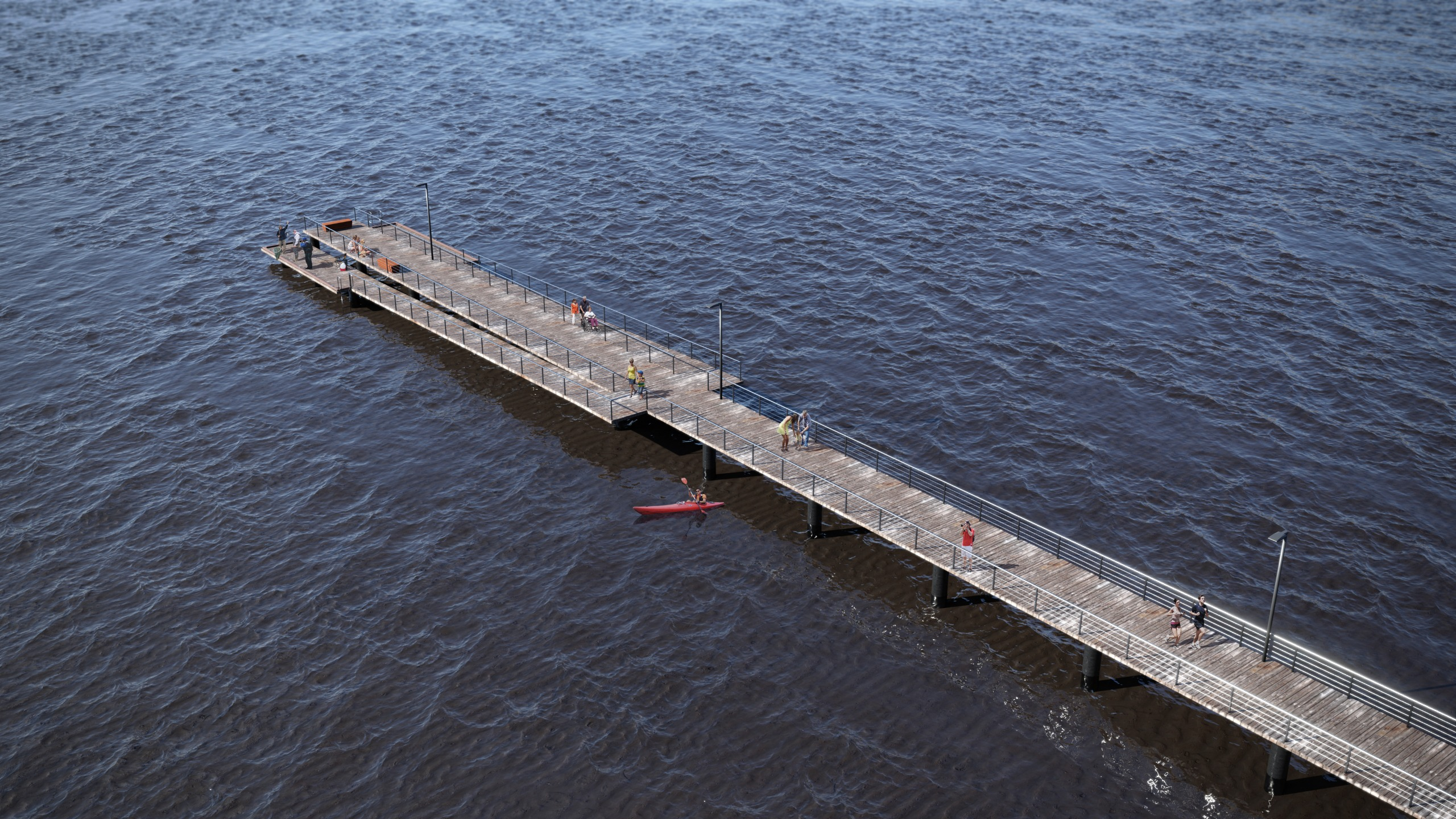 Picture of a straight wooden pier, with low landings