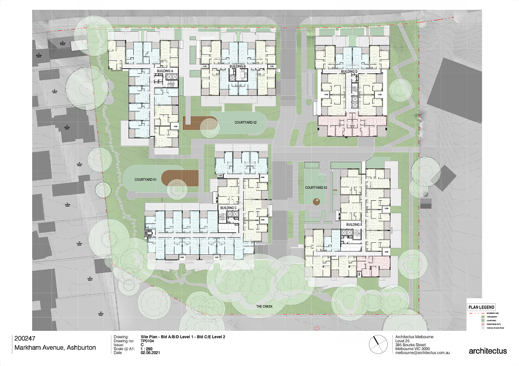 There are 5 buildings shown on this plan. Level 1 plans for Buildings A, B and D to the North and Level 2 Plans for Buildings C and E to the South.  Buildings A, B and C to the West are showing a mix of 1- and 2-bedroom apartments.  Buildings D and E to the East are showing a mix of 1,2-, and 3-Bedroom apartments.  All apartments are showing private open spaces and balconies