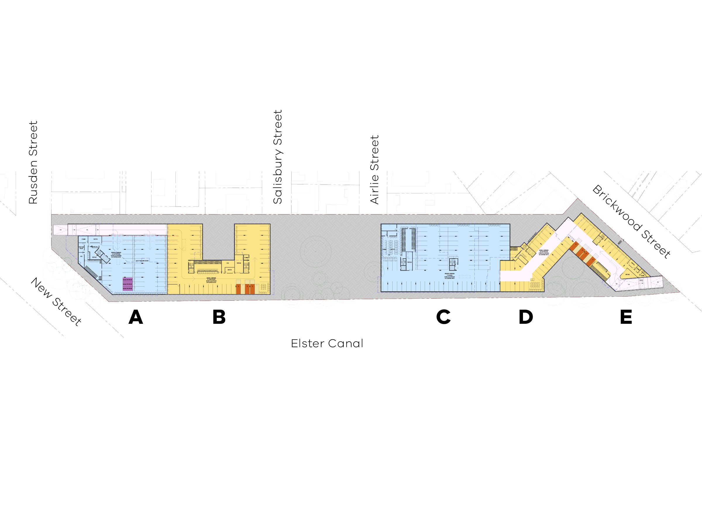 Diagram showing the types of carparks in the new development