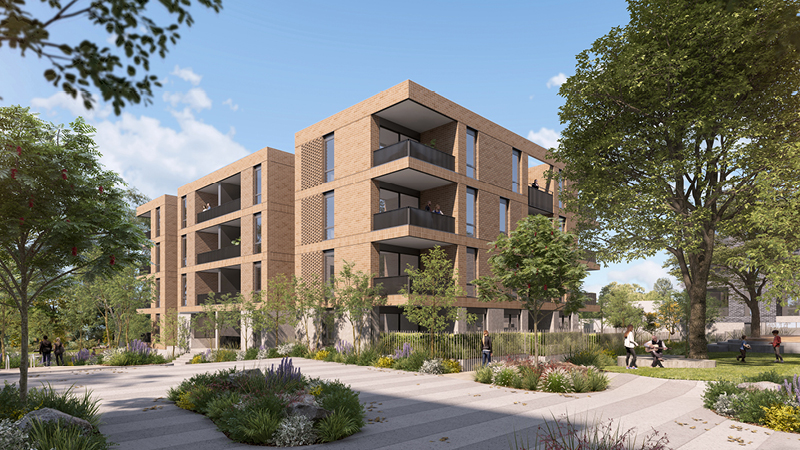 Artist impression showing building C as seen from the courtyard. It's showing trees and plants around the building.