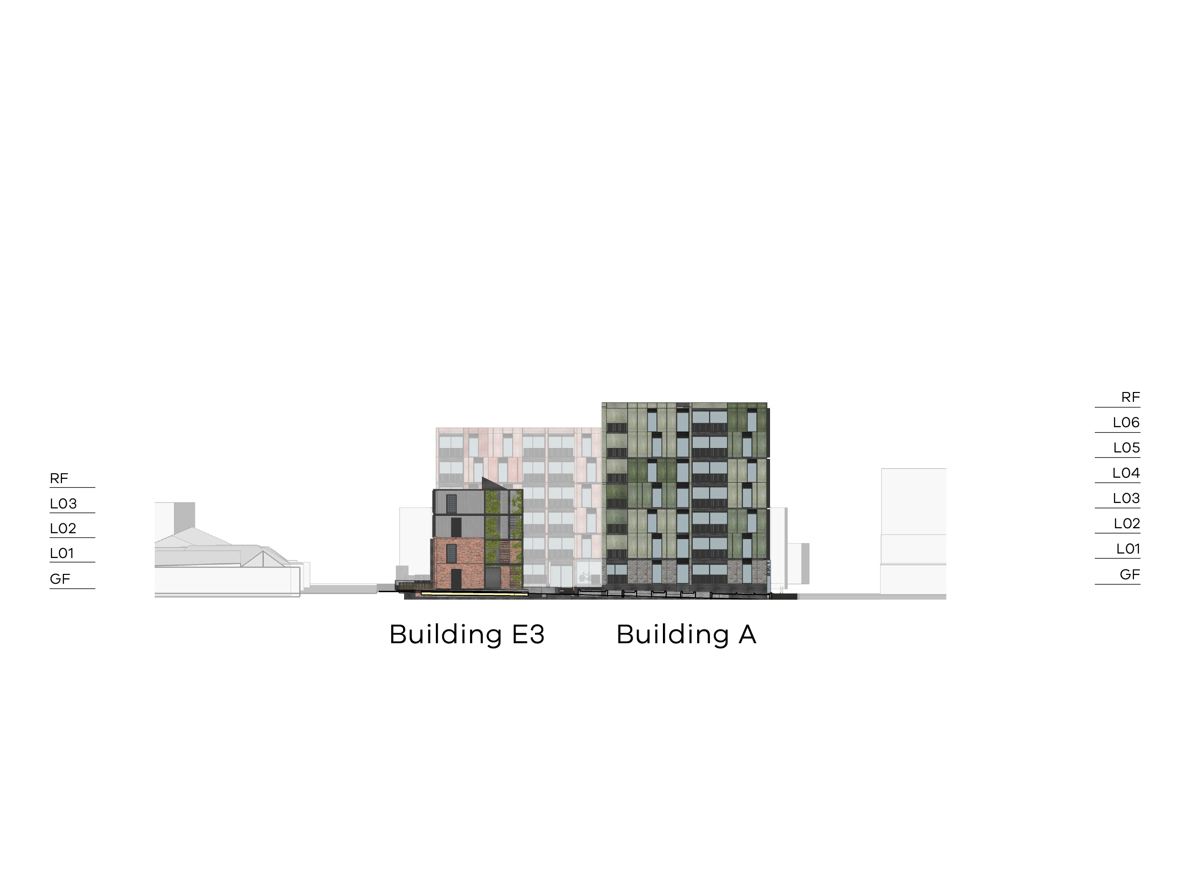 Diagram showing the heights of buildings A and E3 as seen from the central open space looking south. Building A has a ground floor, level 1-6 and a flat roof. Building E3 has a ground floor, level 1-3 and a flat roof.