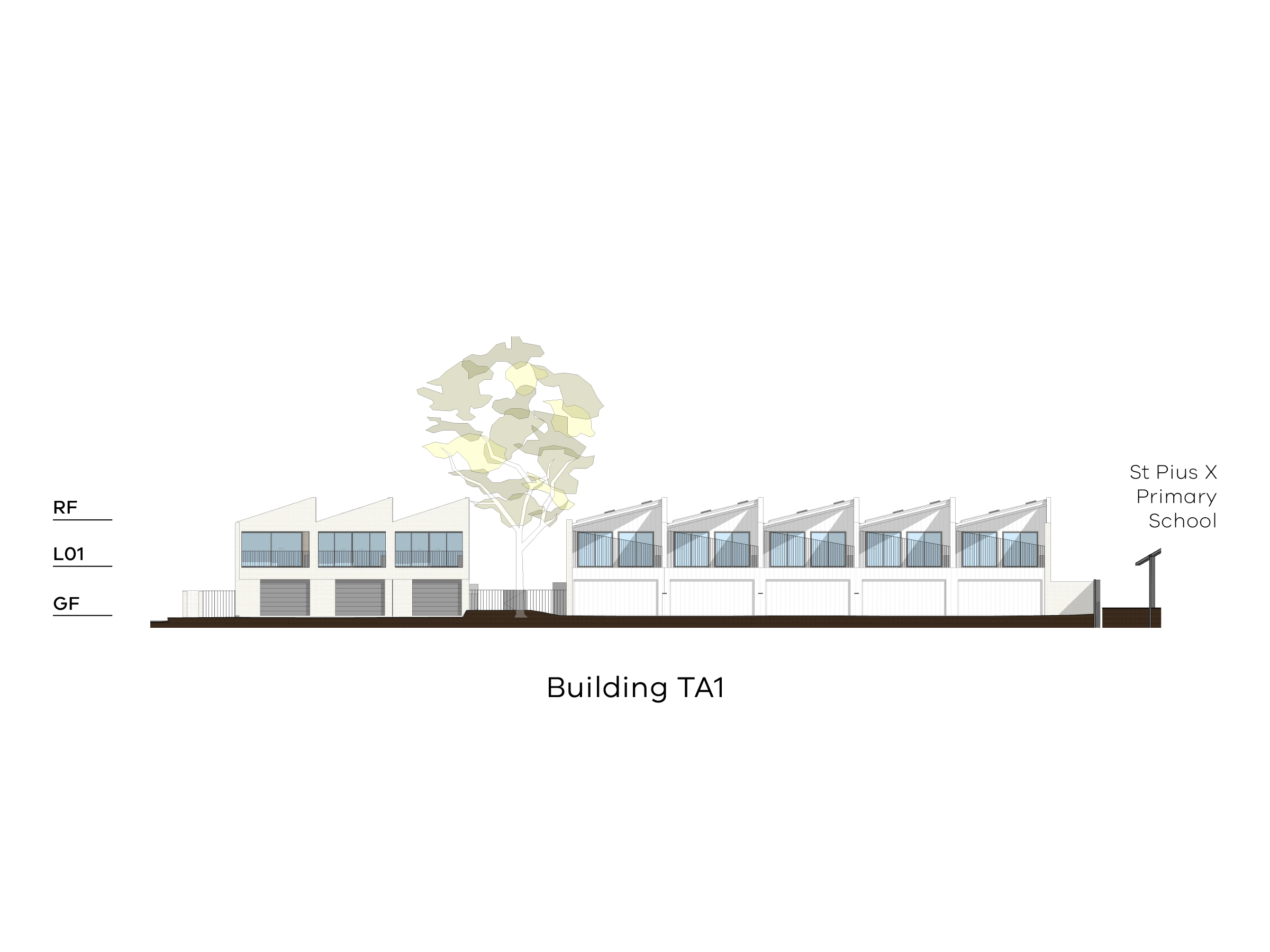 Diagram showing the height of building TA1 as seen from the paved area on site looking towards Altona Street. Building TA1 has a ground floor with a garage door, a level 1 and a sloped roof.