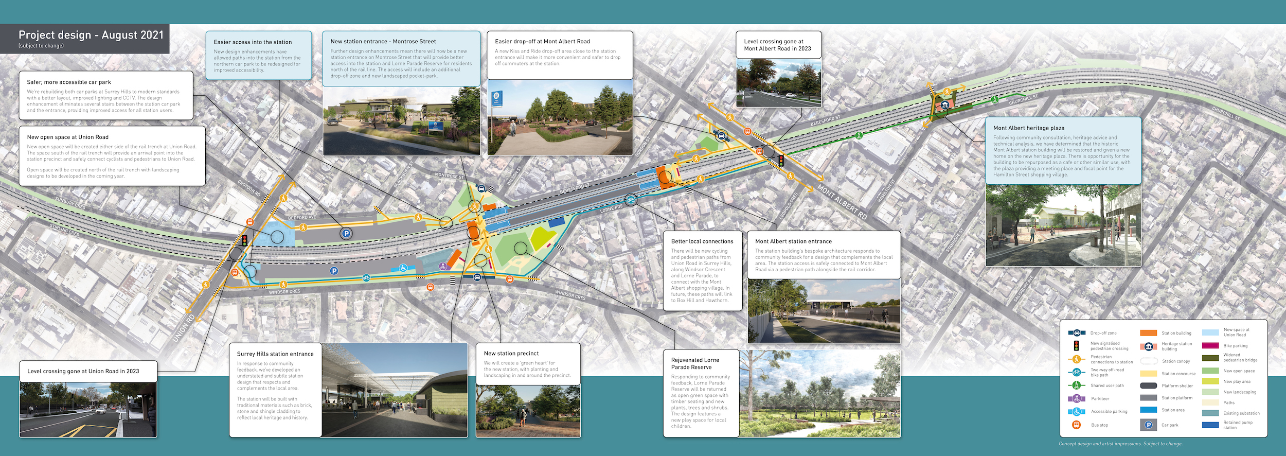 Project design map for Union Road, Surrey Hills and Mont Albert Road, Mont Albert. Subject to change.