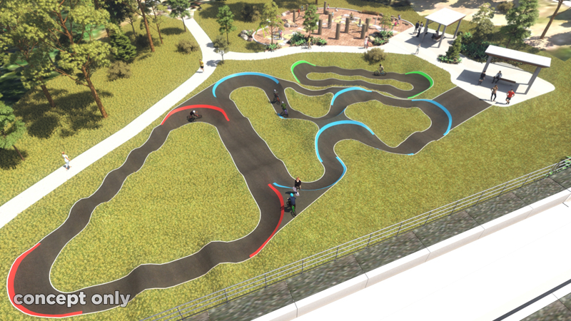 Concept design of the BMX/pump track at Apex Park