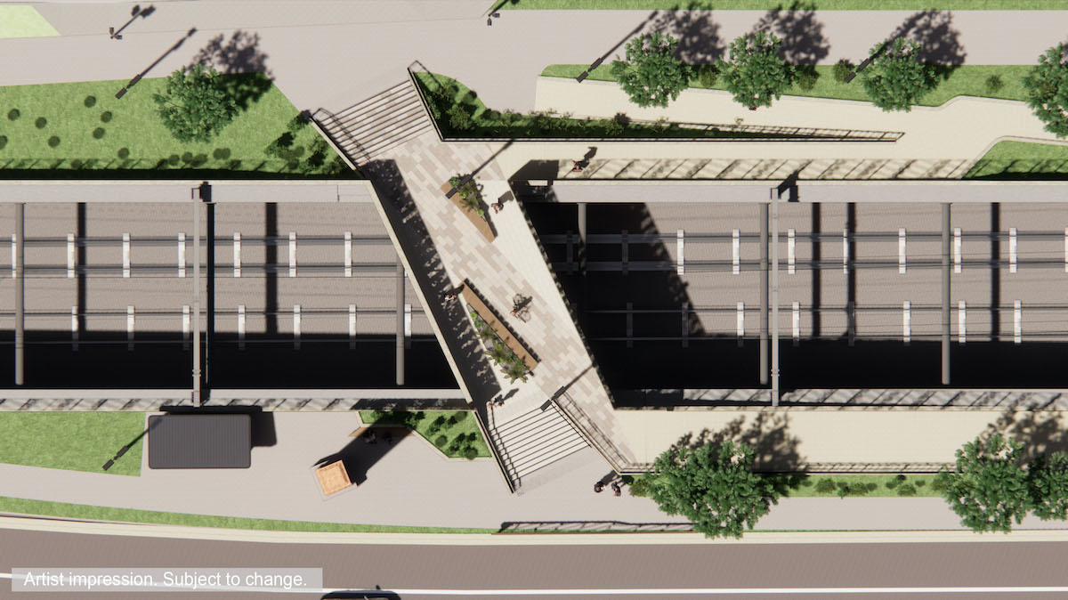 A birds eye view of the pedestrian bridge includes planting stations, stairs and ramps for access
