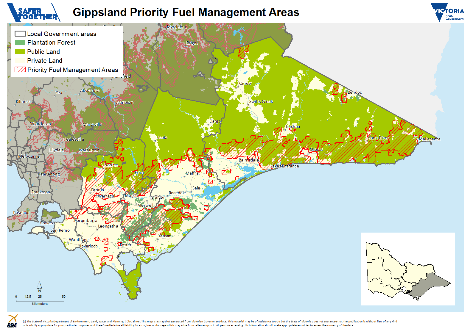 A map of the proposed Priority Fuel Management Areas in the Gippsland Region