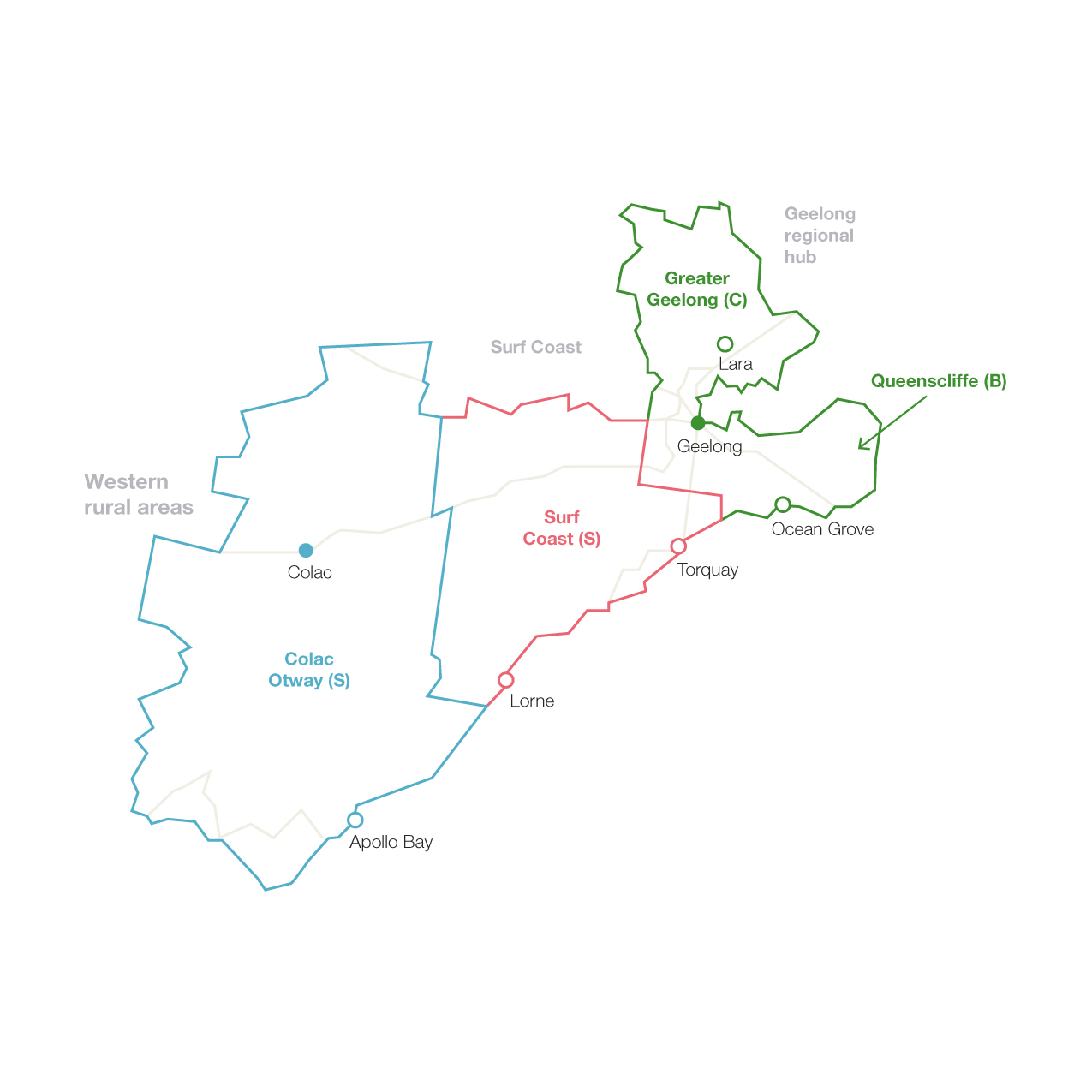 Map of Barwon including the four local government areas of Colac Otway, Surf Coast, Queenscliffe and Greater Geelong.