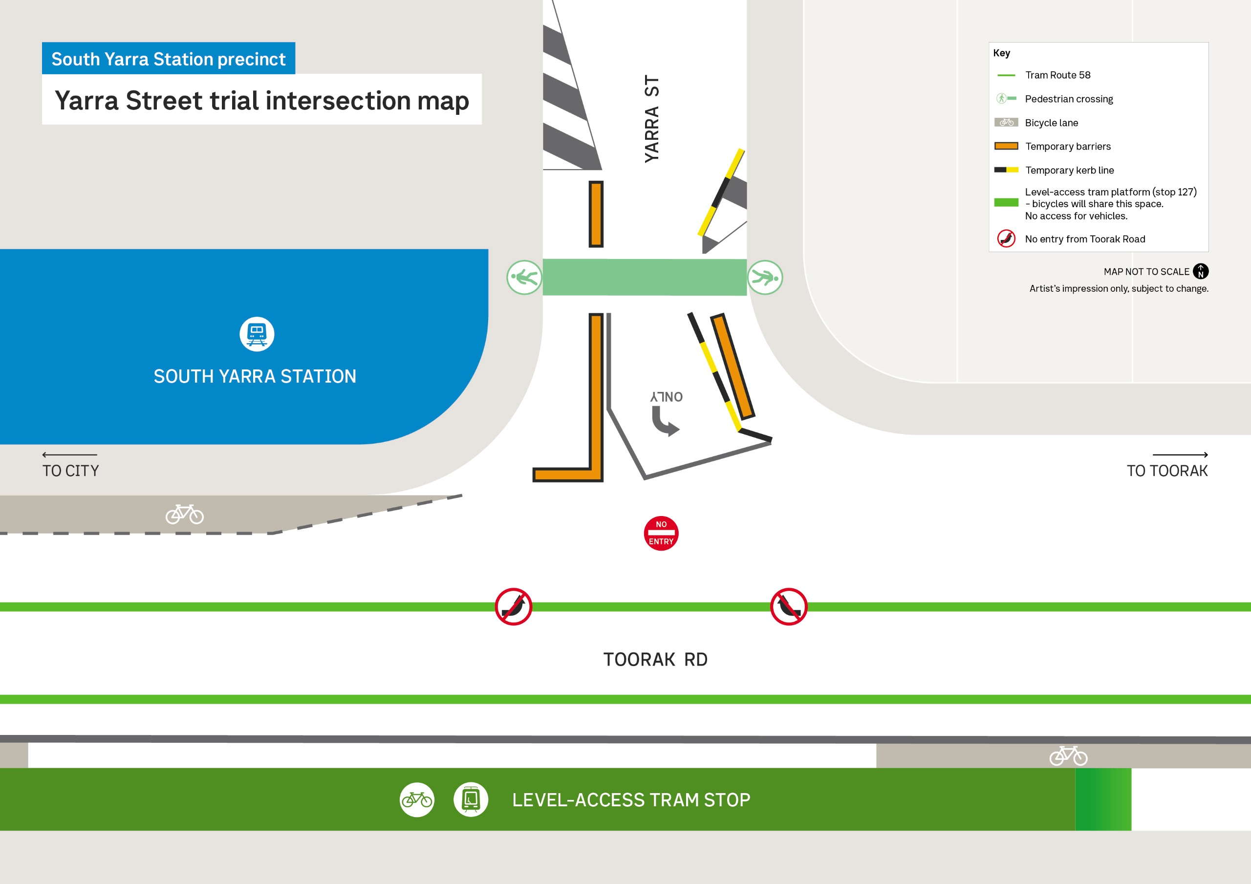 Design plan for new tram stop showing traffic changes at Yarra Street and Toorak Road intersection. There is a No Entry sign at entrance to Yarra Street, and no left or right hand turn from Toorak Road. There are temporary barriers and kerb lines to widen