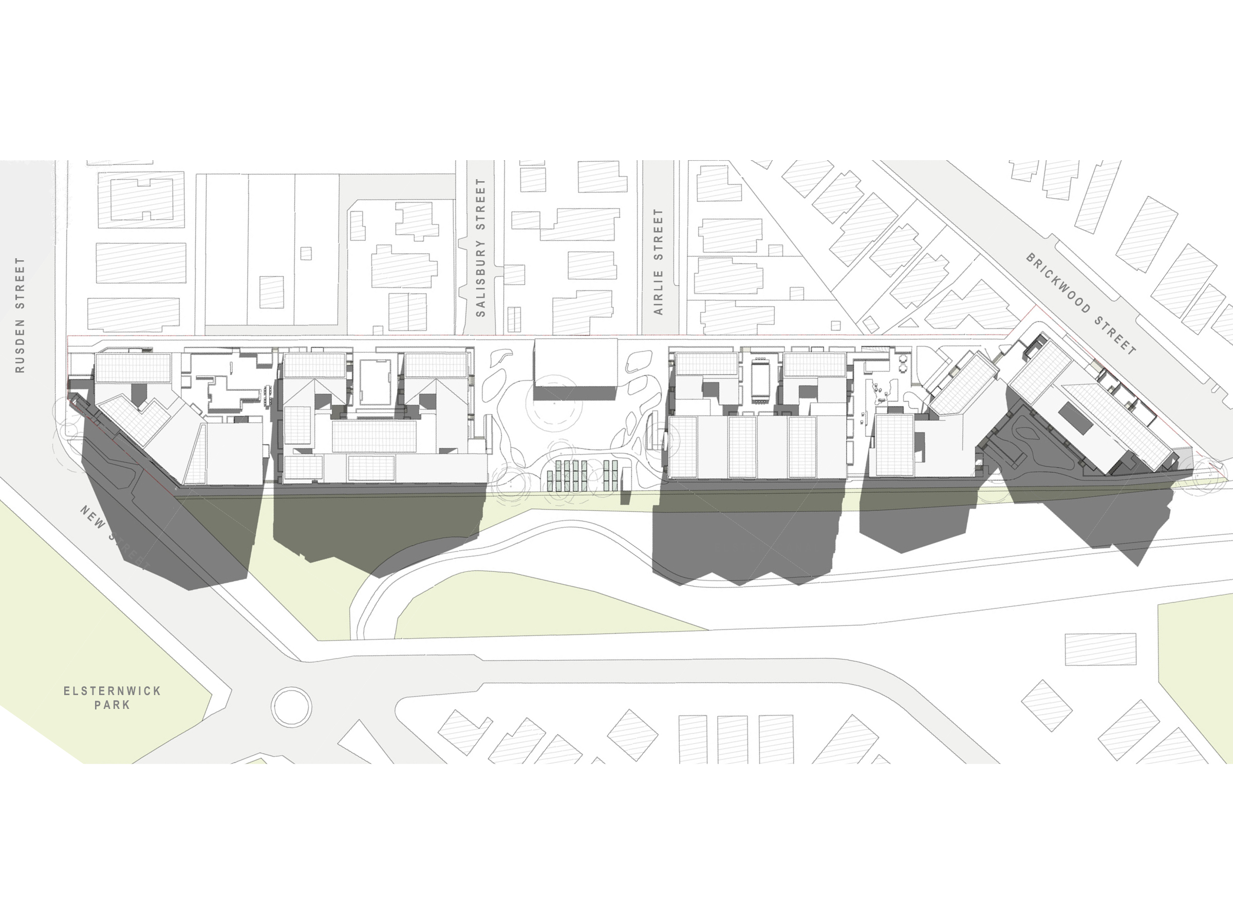 Diagram showing the shadows created by the new development in September at 9am