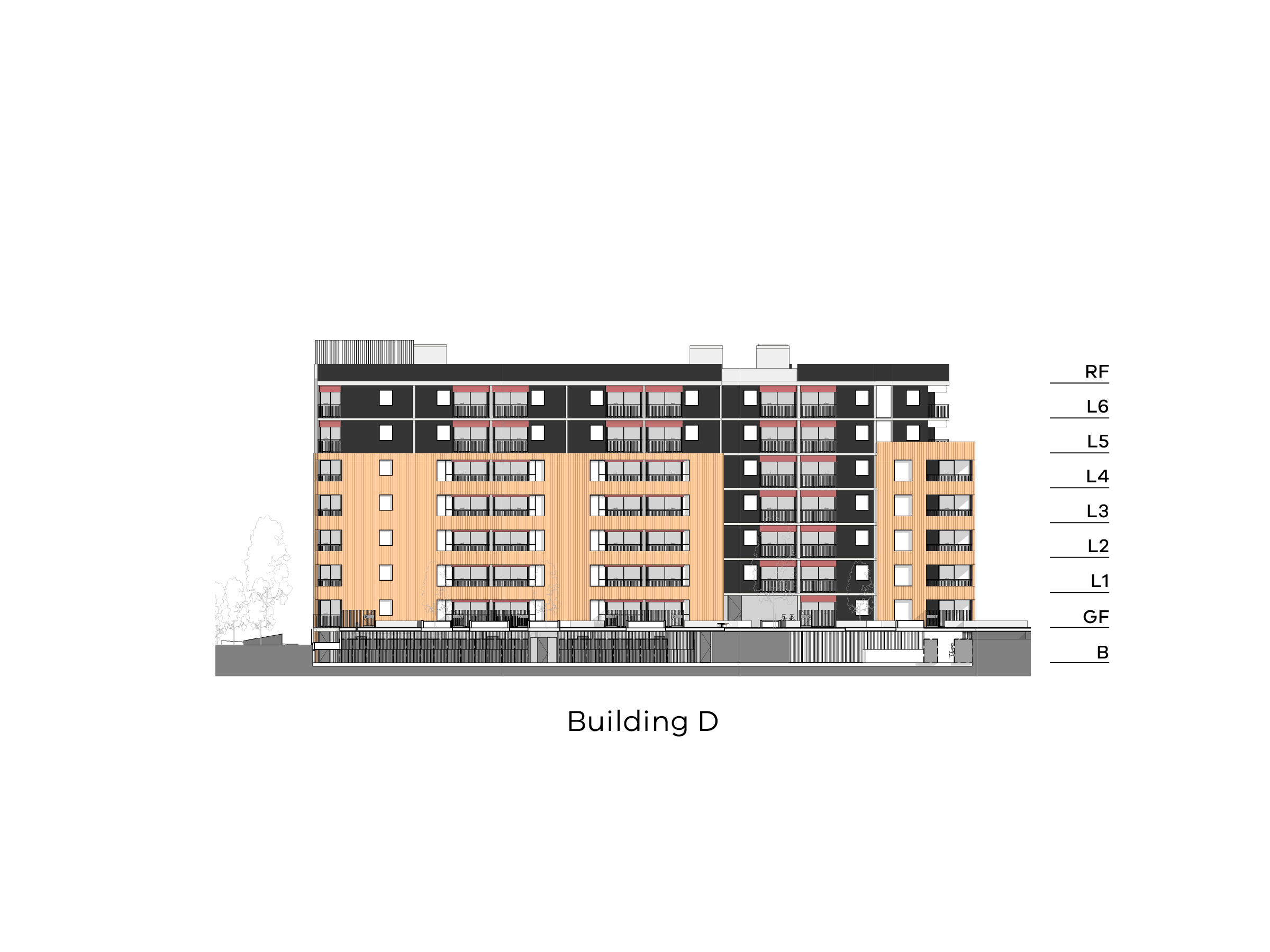 Diagram showing the height of building D as seen from the on-site walkway looking towards New Holland Crescent. Building D has a basement, ground floor, level 1-6 and a flat roof.
