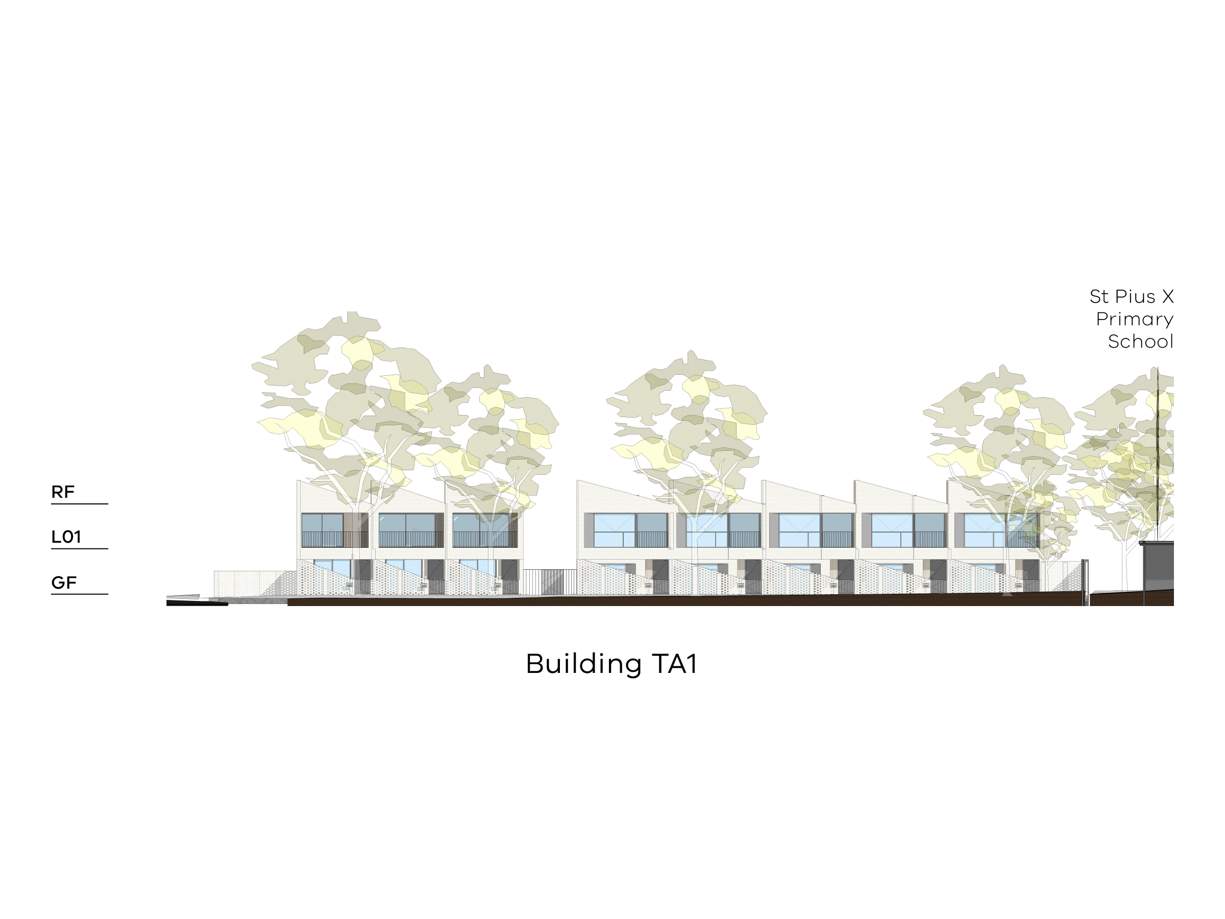 Diagram showing the height of building TA1 as seen from the park on site looking towards Altona Street. Building TA1 has a ground floor, a level 1 and a sloped roof.