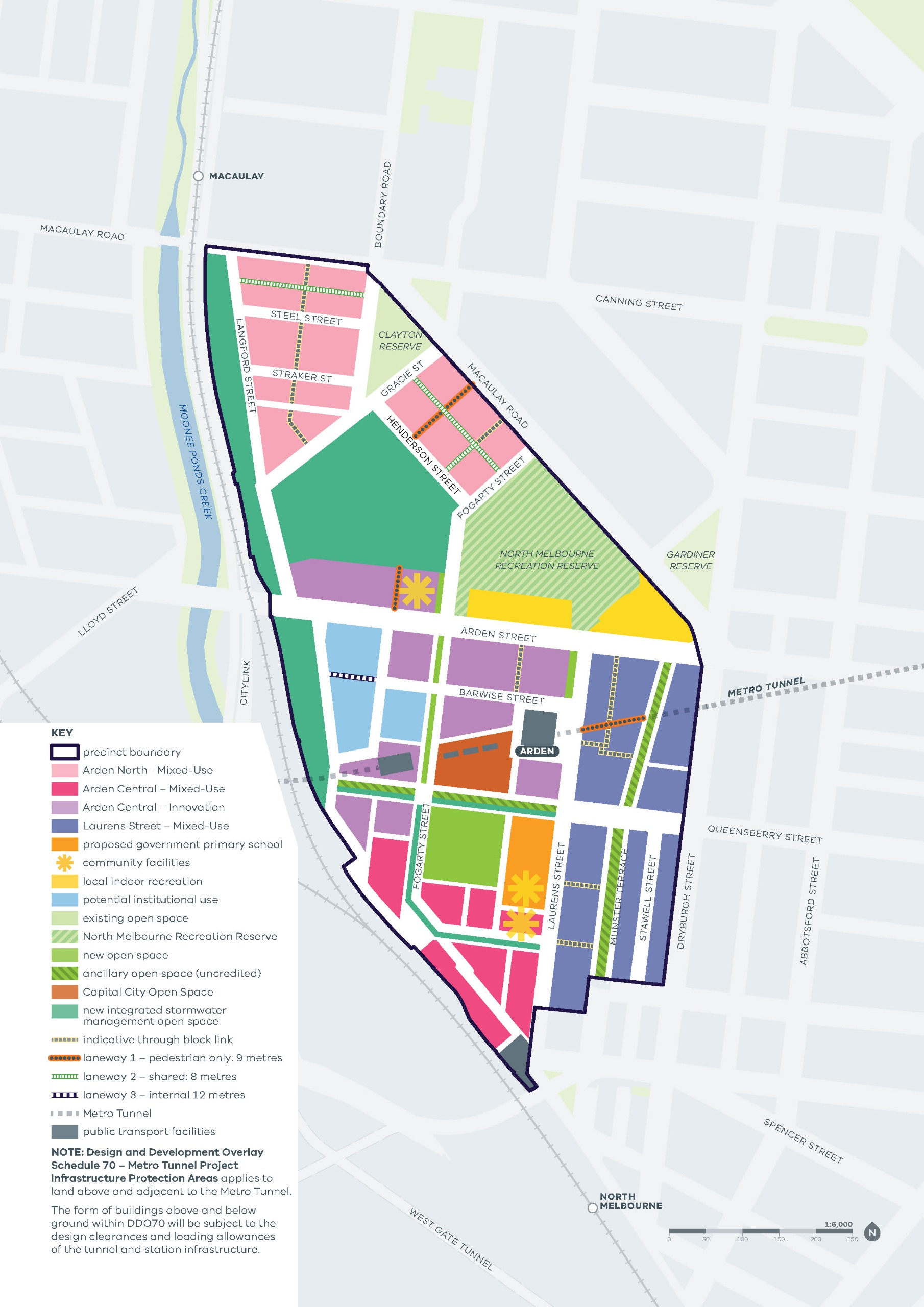 A proposed land use framework map of the Arden precinct detailing the potential future uses.