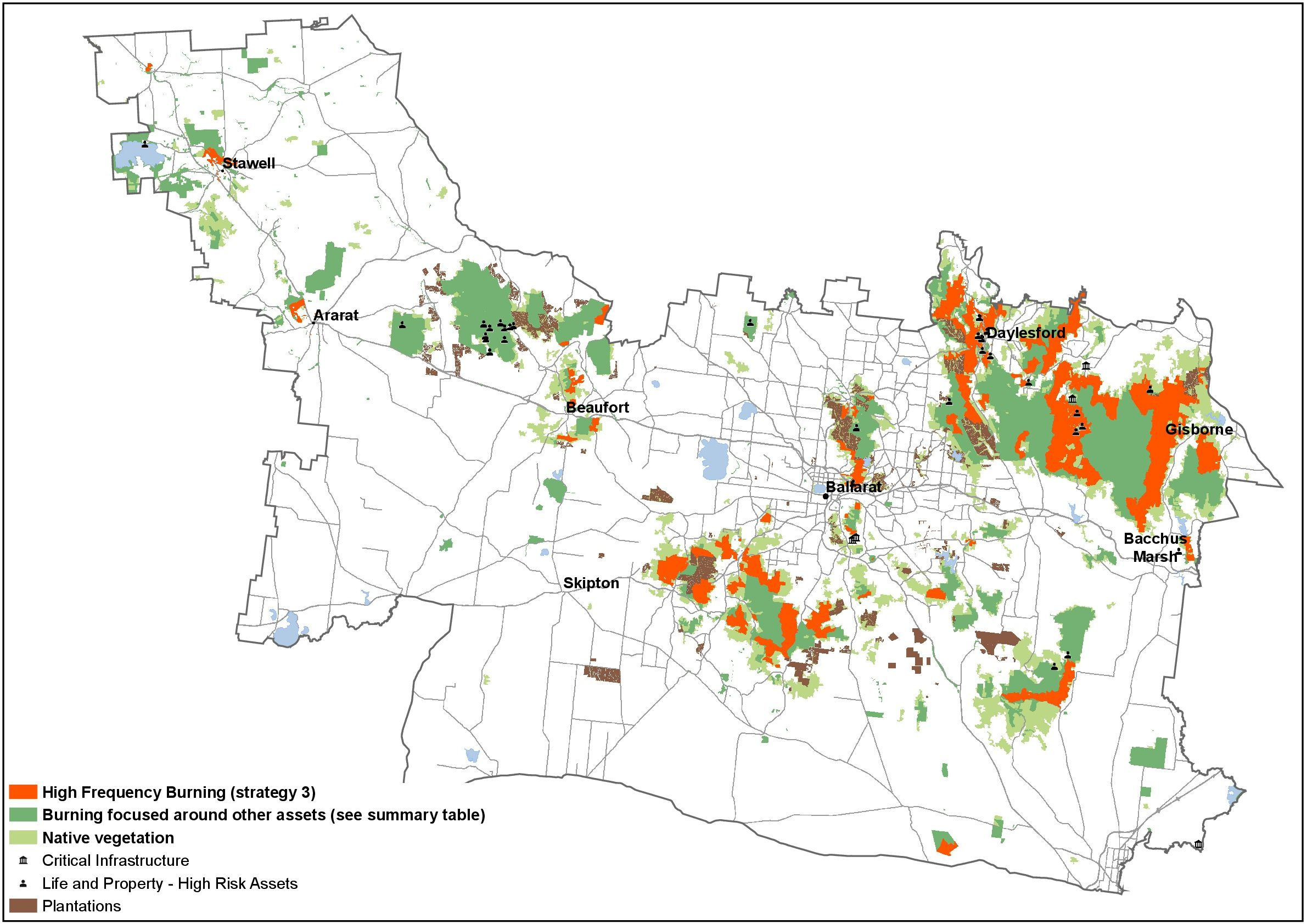 Strategy 3 consists of:  high levels of burning, concentrated around towns moderate levels of dispersed burning across the broader landscape burning focus on townships to a similar level as strategy 2, with additional burning undertaken in areas away from communities, focusing on roads, infrastructure, tourism, agriculture, plantations and campgrounds additional burning is likely to further reduce the risk to towns and adjoining private property and reduce the size of bushfires some vegetation types depend on fire for regeneration and focusing our planned burning around towns and assets will have mixed results for plants and animals.