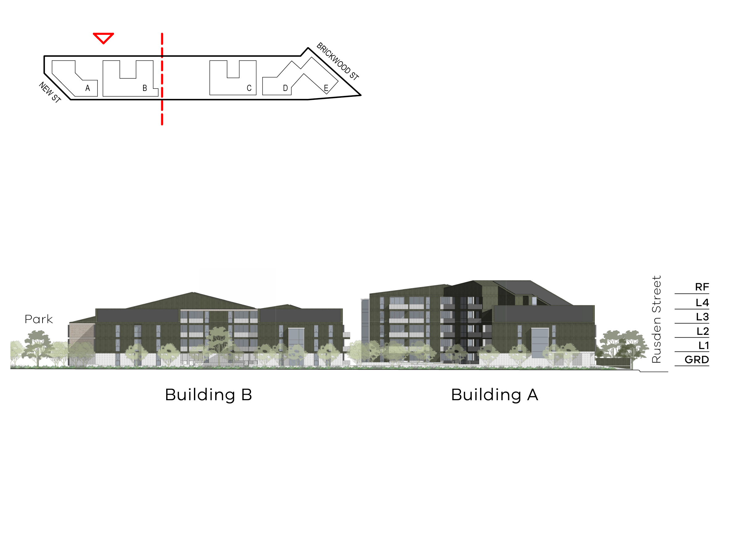 Diagram showing the heights of buildings A and B as seen from Ebden Street. Building A includes ground level, level 1 - 4 and a roof, building B includes ground level, level 1-3 and a roof.