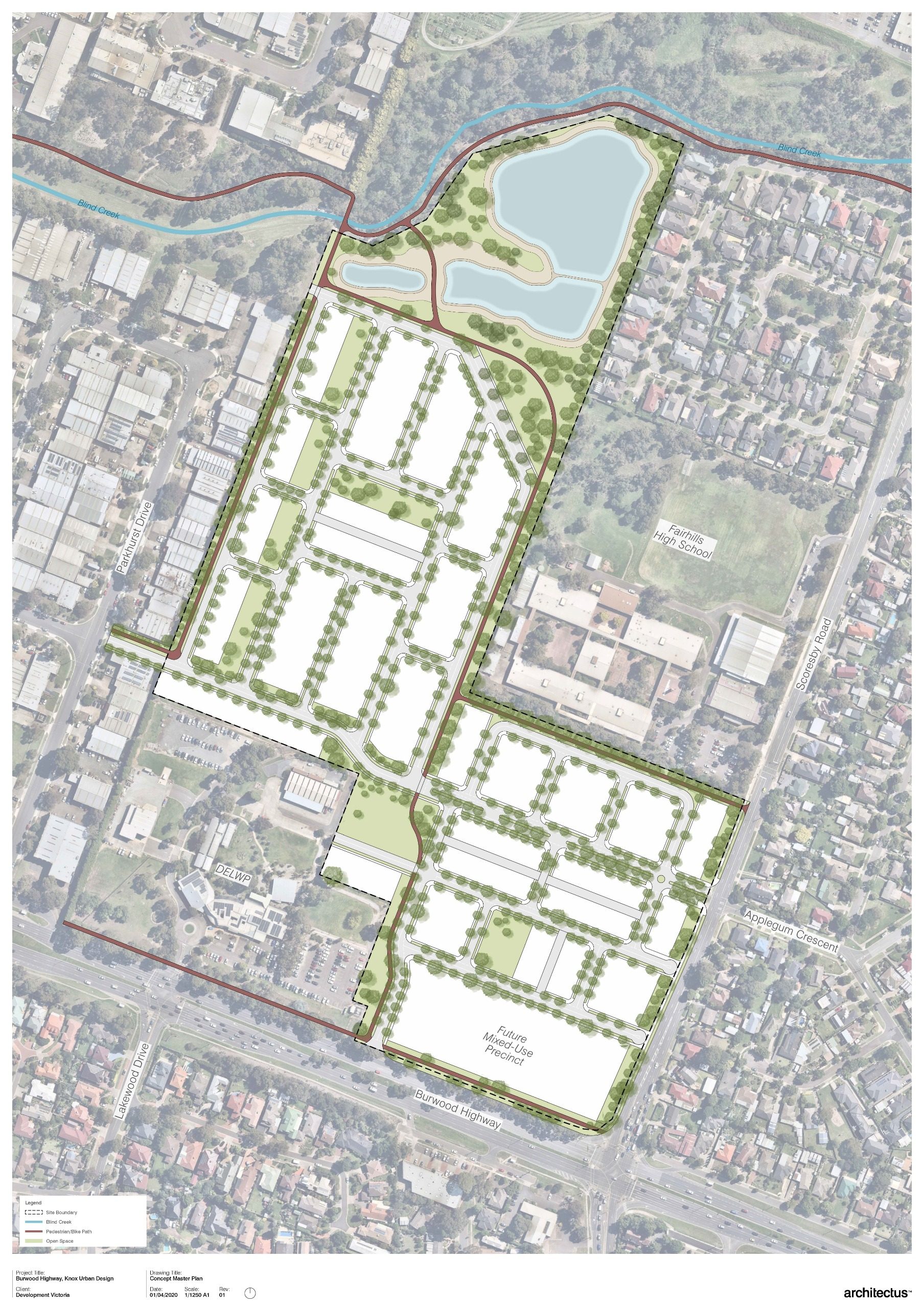 The image shows the Knoxfield draft Masterplan. The image shows The residential area with a diverse range of dwellings all of which will have off-street parking. The image also shows multiple public open space and recreational spaces, the new wetland whic