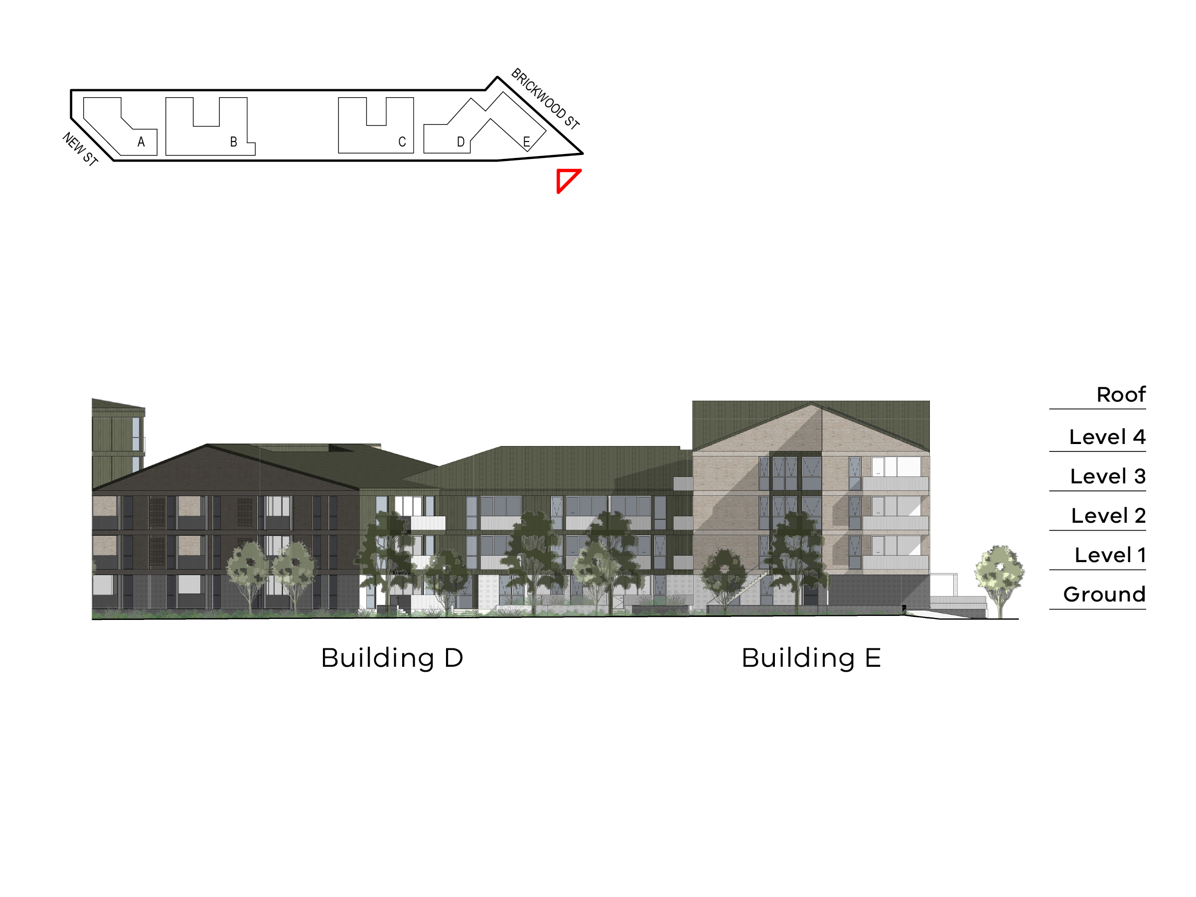 Diagram showing the heights of buildings D and E as seen from Elster Creek near the corner of Brickwood Street. Building D includes ground level, level 1-2 and a roof, building E includes ground level, level 1-3 and a roof.