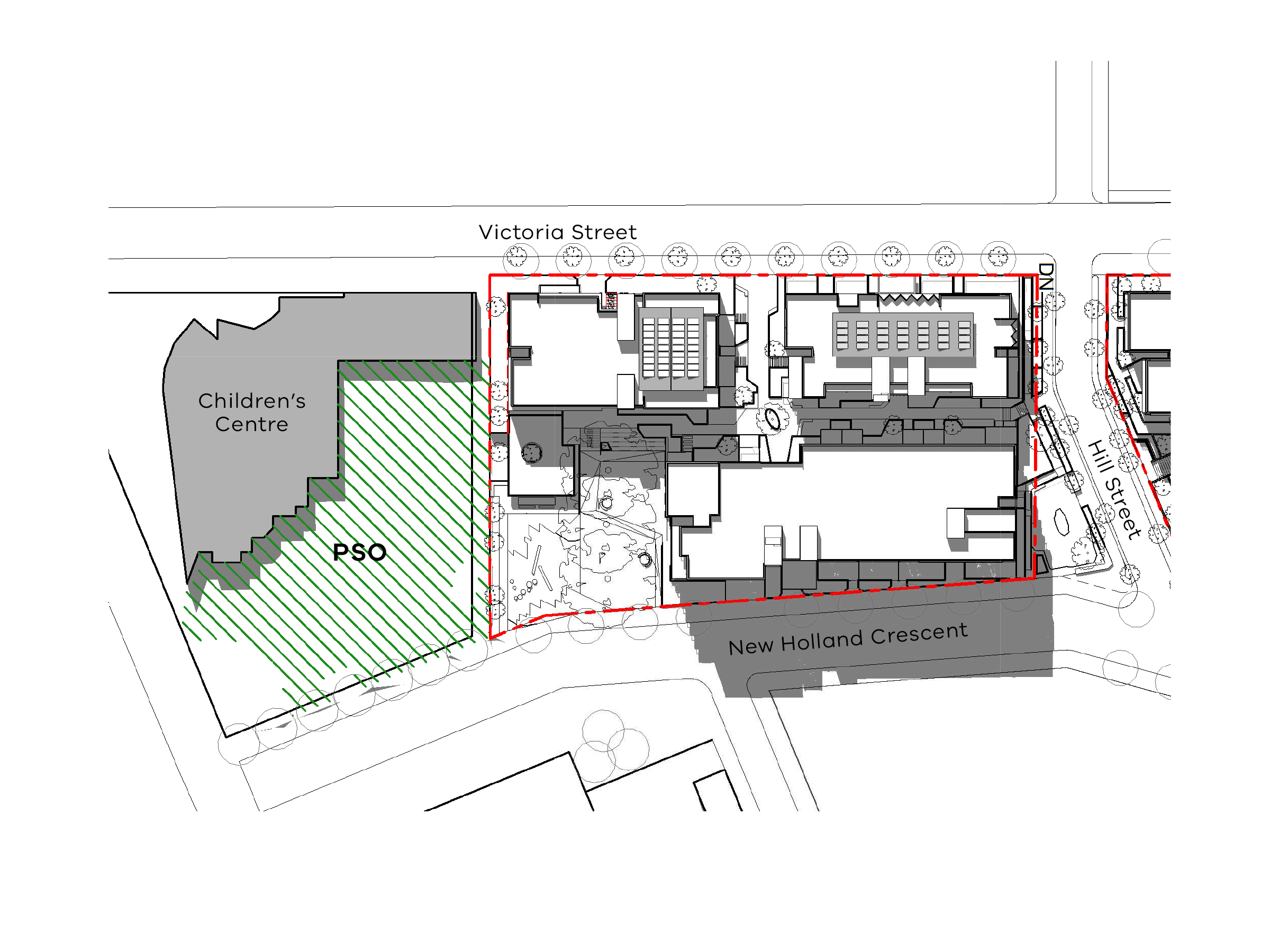 Diagram showing the shadows created by the south site of the new development in December 3pm