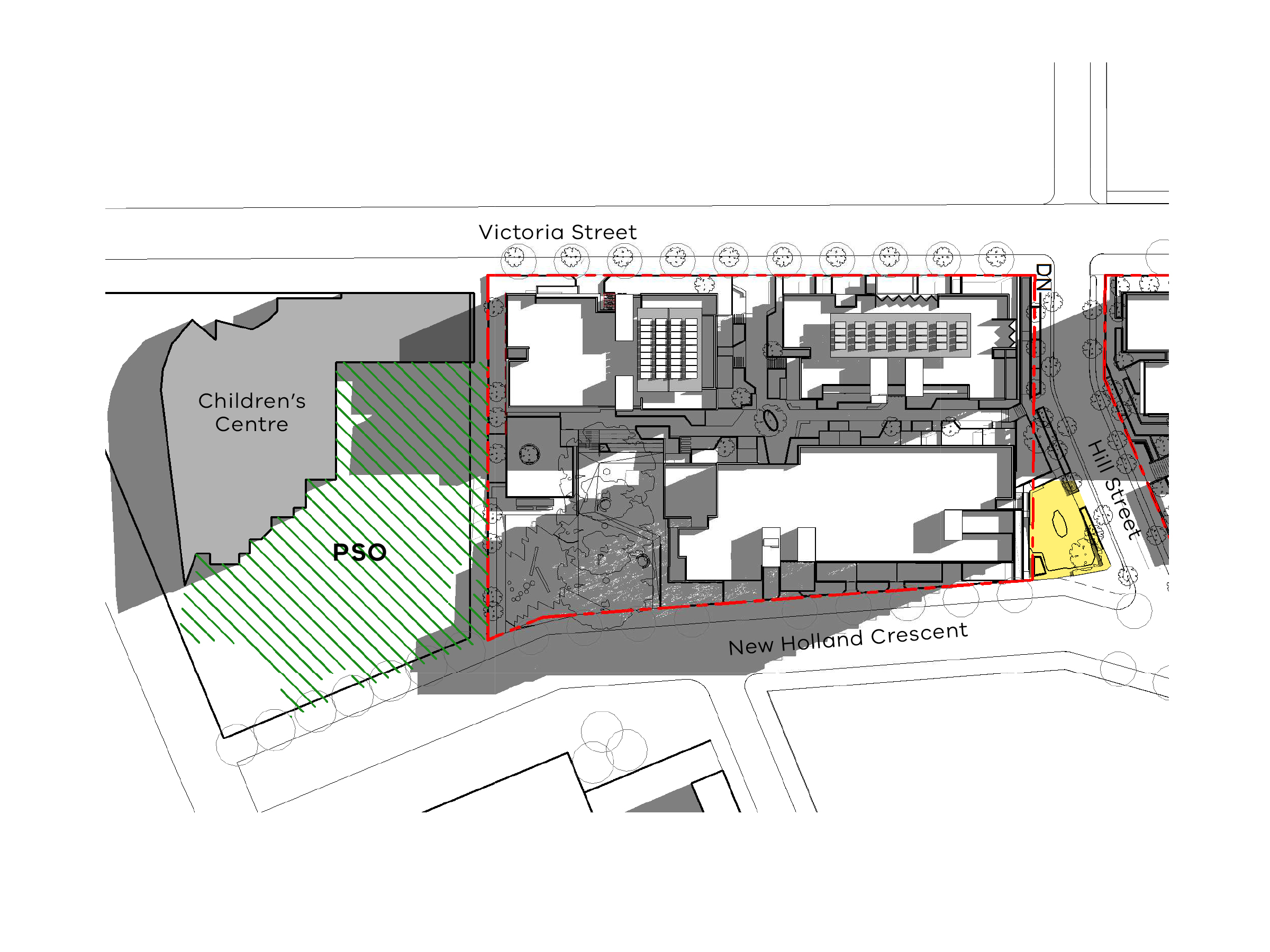 Diagram showing the shadows created by the south site of the new development in June at 12pm