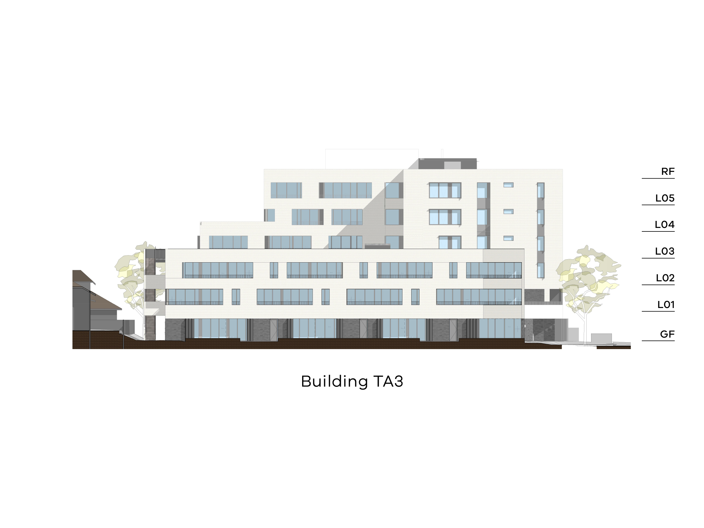 Diagram showing the height of building TA3 as seen from the on-site park looking south. Building TA3 has different heights, with a ground floor, level 1-2 and a flat roof at the front. The back of the building has a ground floor, level 1-3 and a flat roof on the eastern side and a ground floor, level 1-5 and a flat roof on the western side.