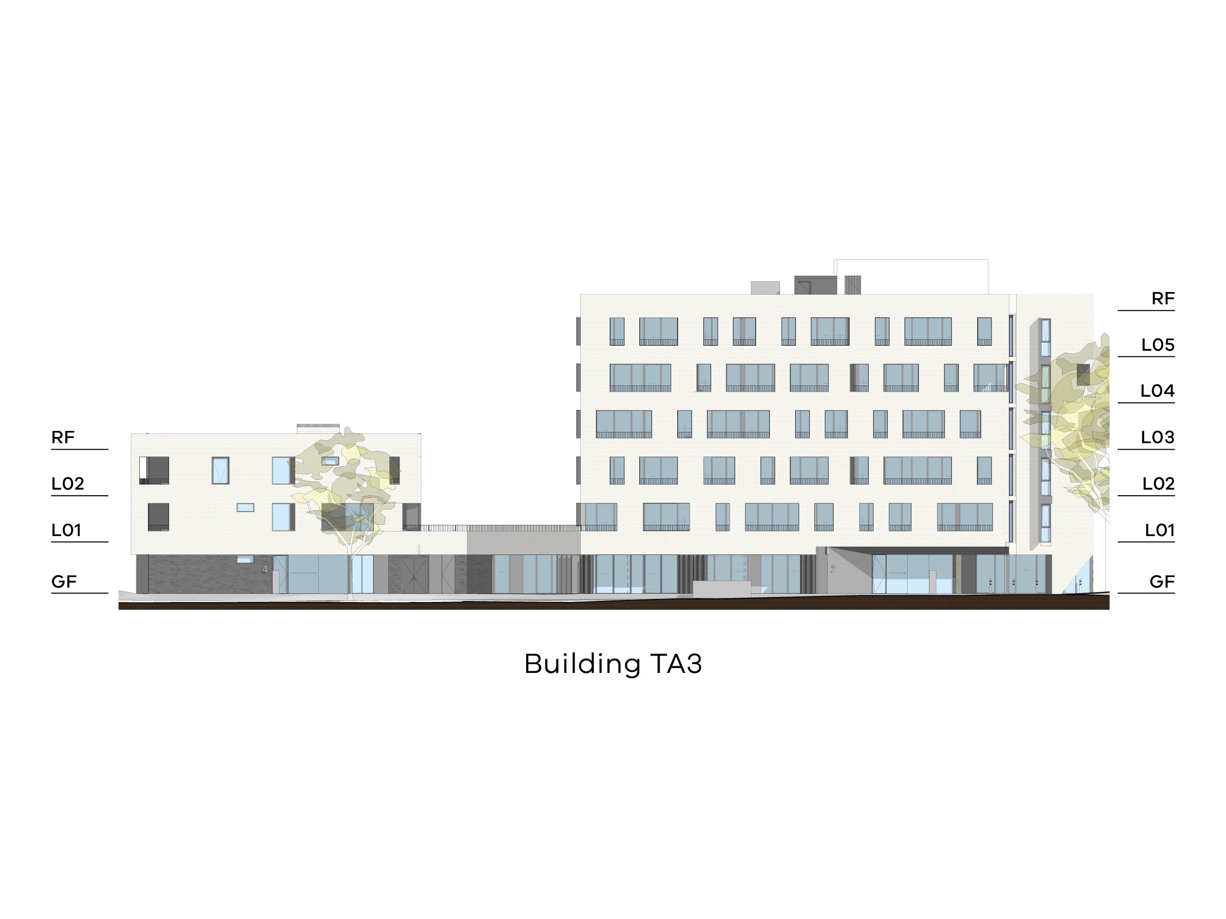 Diagram showing the height of building TA3 as seen from Tarakan Street. Building TA3 has different heights with a ground floor, level 1-2 and a flat roof on the northern side, a ground floor in the middle and a ground floor, level 1-5 and a flat roof on the southern side.
