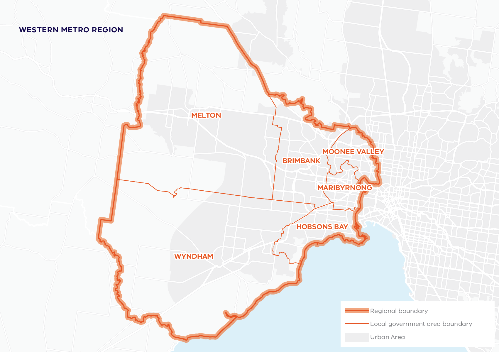 This map shows the boundary for the Western Metro region and local government areas. The Western Metro region includes Brimbank, Hobsons Bay, Maribyrnong, Melton, Moonee Valley and Wyndham local government areas.