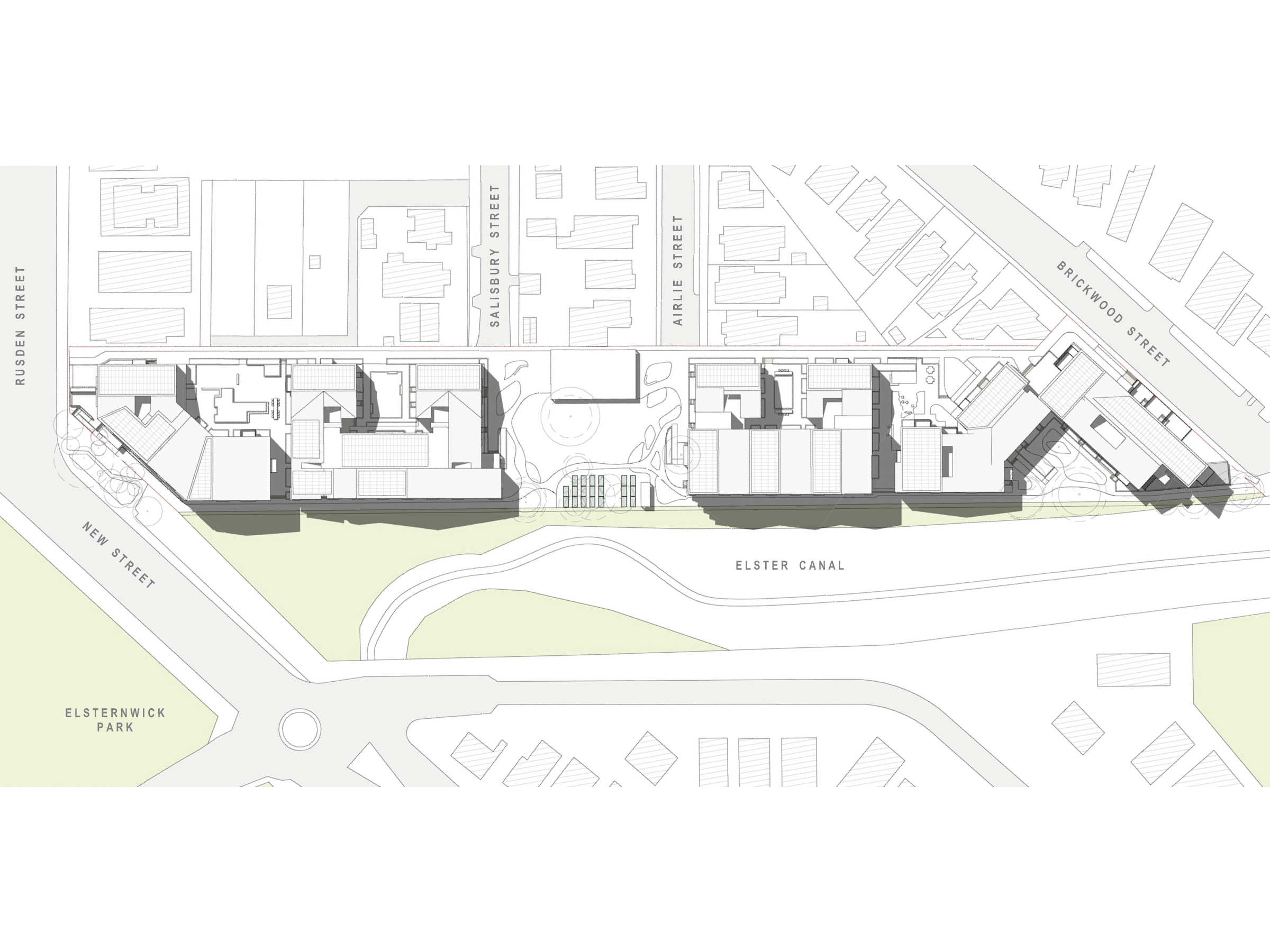 Diagram showing the shadows created by the new development in September at 12pmm