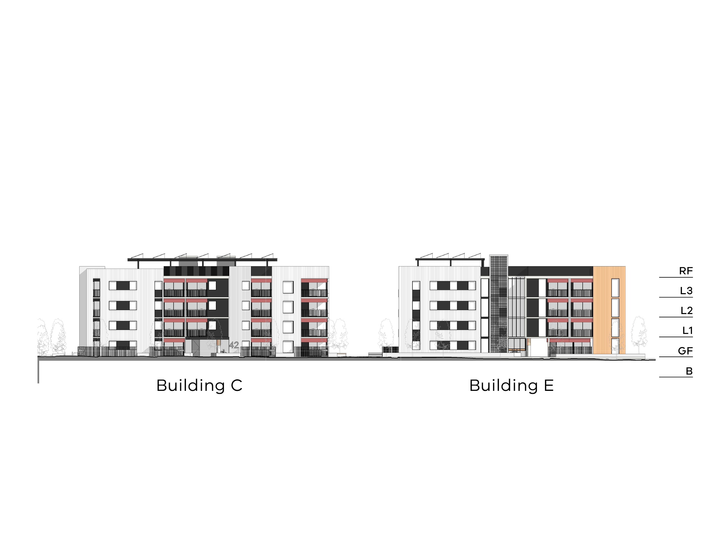 Diagram showing the heights of buildings C and E. Buildings C and E have a basement, ground floor, level 1-3 and a flat roof.