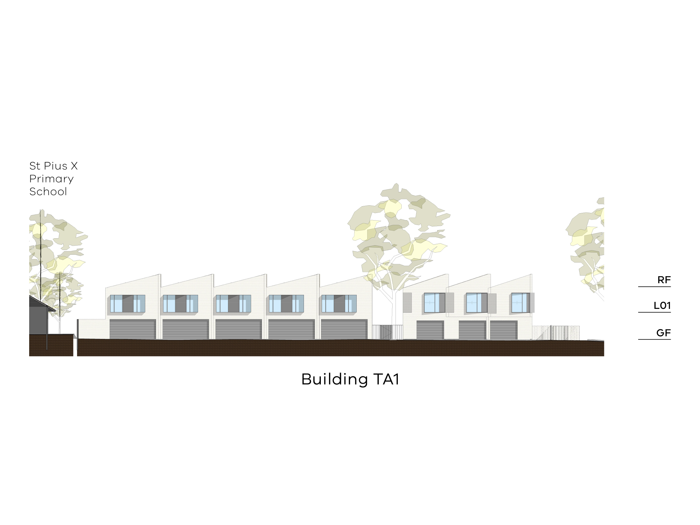 Diagram showing the height of building TA1 as seen from the paved area on site towards Tobruk Avenue. Building TA1 has a ground floor with a garage door, a level 1 and a sloped roof.
