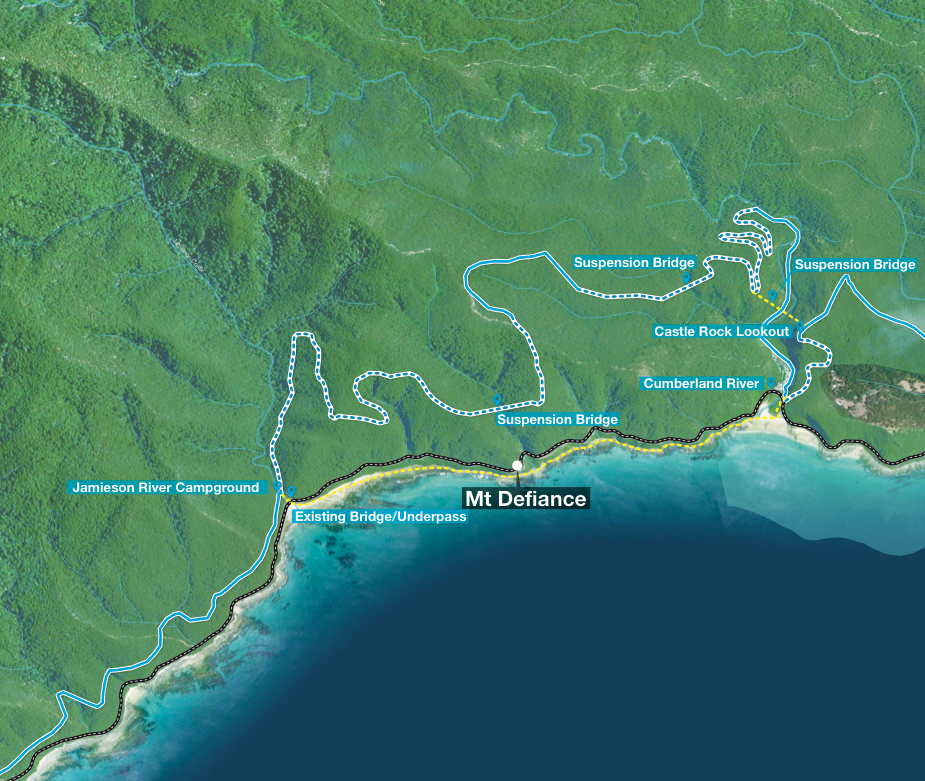 Draft concept map for an alternative section of trail between Cumberland River and Jamieson Creek which follows the Great Ocean Road and travels along the coast